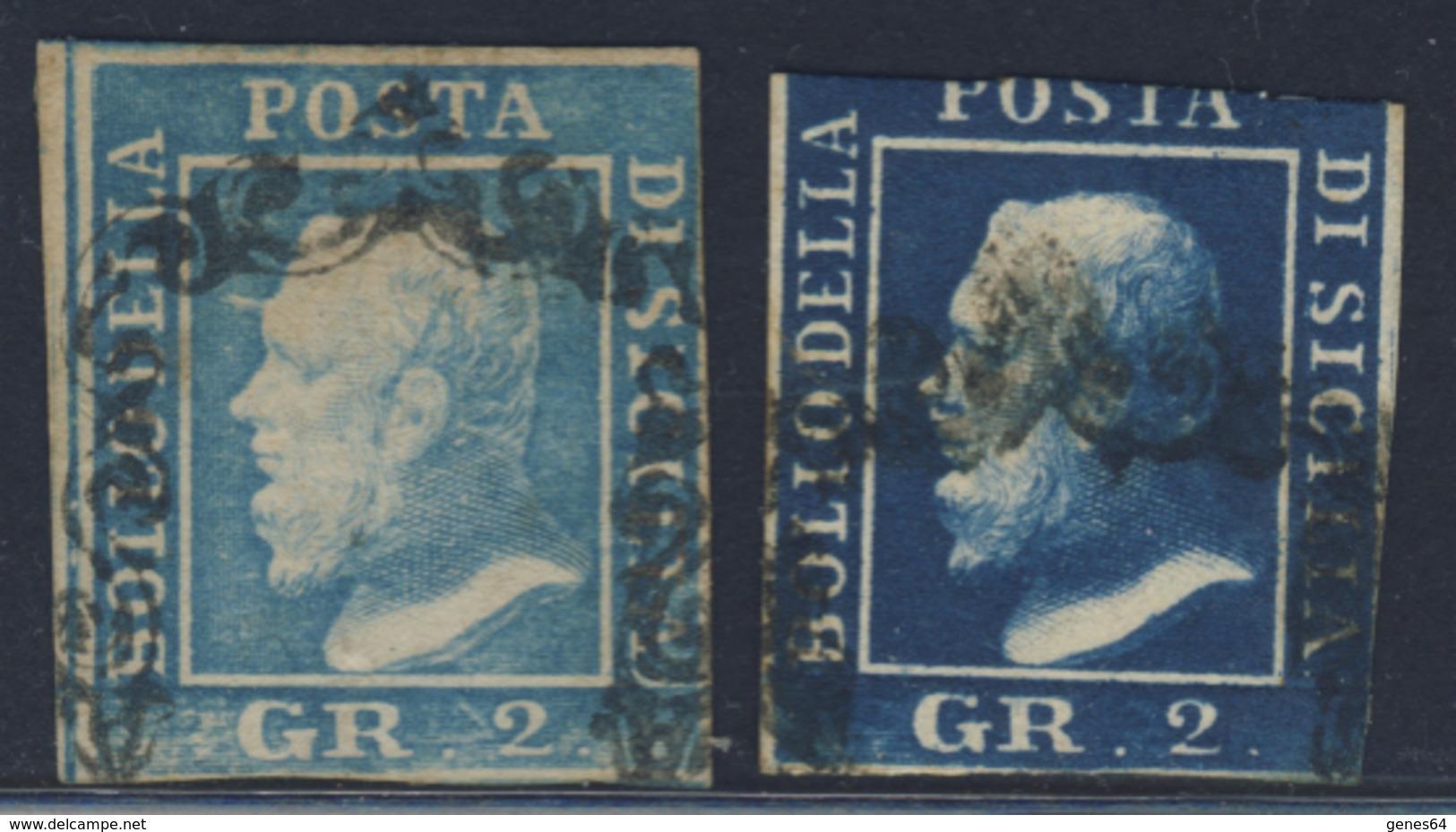 2 Grana Azzurro Con Margine Destro Corto + 2 Grana Azzurro Scuro Non Conteggiato - Immagine Del Verso - Sizilien