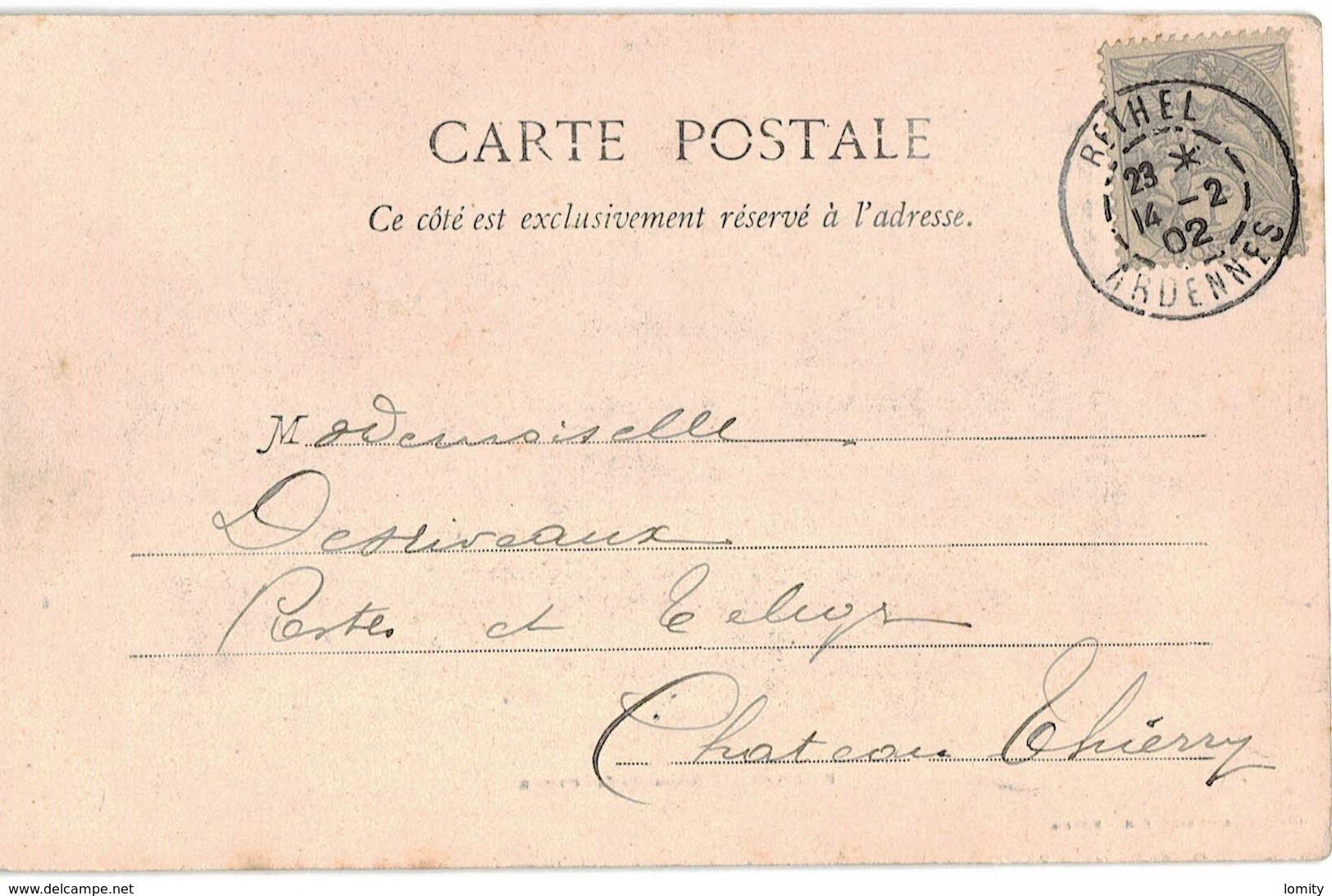 08 Rethel La Sous Prefecture Cpa Carte Animée Cachet Rethel 1902 Timbre Type Blanc N°107 - Rethel