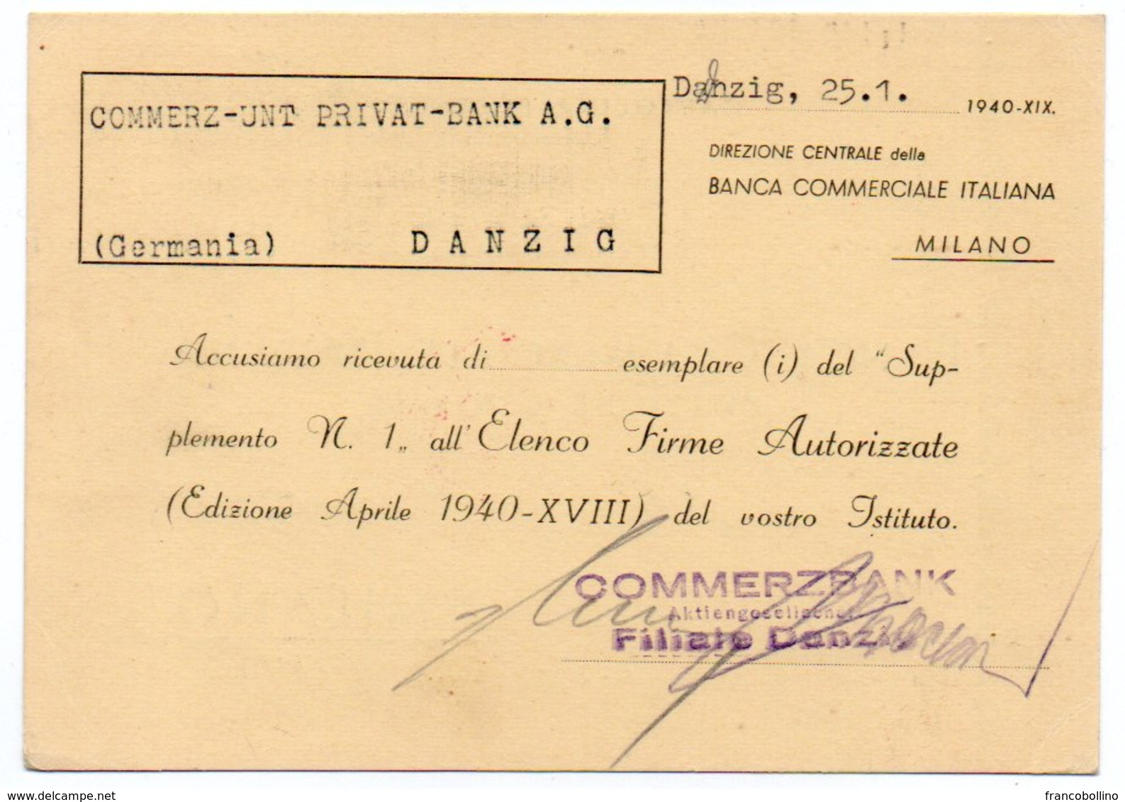 COMMERZBANK DANZIG 1941 - RED METER/EMA / CENSORED - Danzig