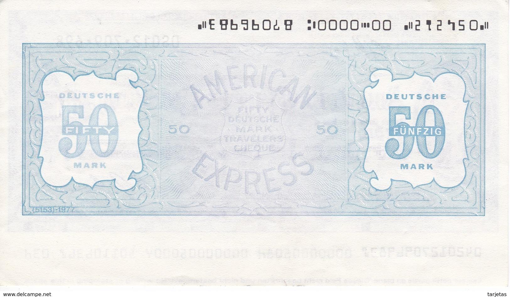 BILLETE DE ESTADOS UNIDOS DE 50 DEUTSCHE MARK DE AMERICAN EXPRESS COMPANY SIN CIRCULAR (TRAVELERS CHEQUE) ALEMANIA - Estados Unidos
