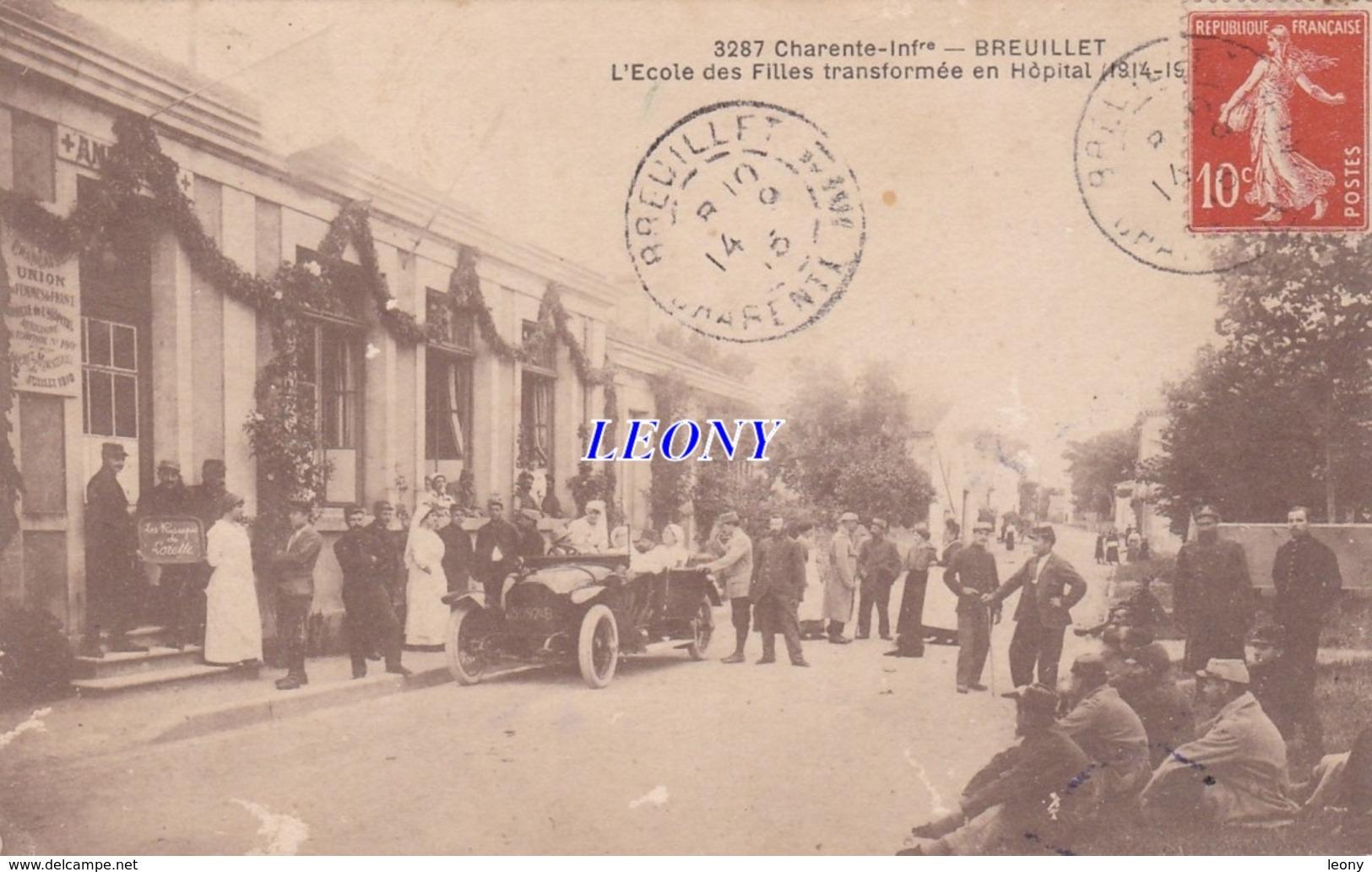 CPA  De BREUILLET   (17) -  L'ECOLE Des FILLES TRANSFORMEE  En HOPITAL 1914-15 -  ANIMATIONS P - Andere Gemeenten
