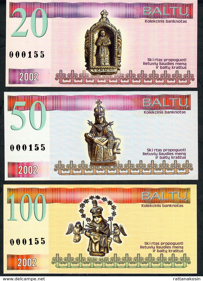 LITUANIA NLP 1,3,5,20,50,100 BALTU 2002 SET ALL SAME LOW NUMBER # 000155 UNC - Lituanie