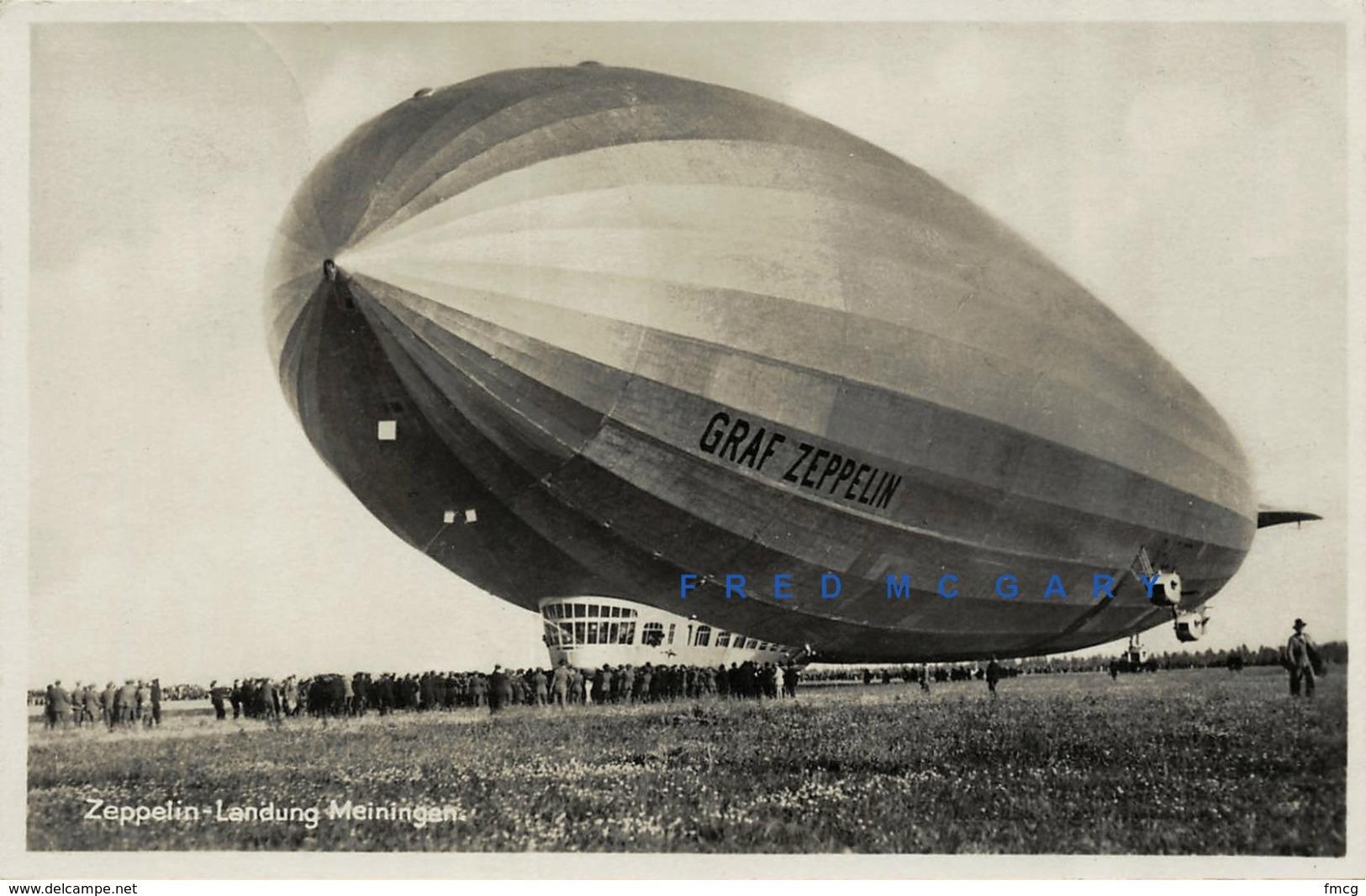 1931 Meiningen Thuringia Germany Real Photo PC: Graf Zeppelin Lands Before Crowd - Meiningen