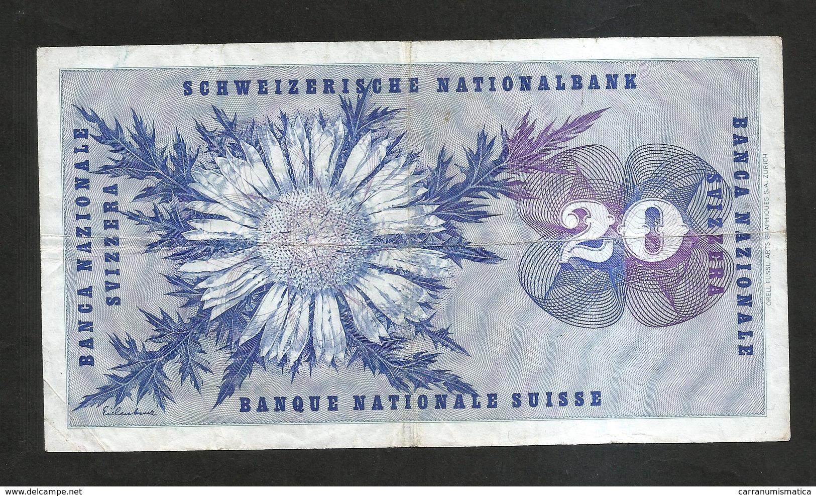 SVIZZERA / SUISSE / SWITZERLAND - NATIONAL BANK - 20 FRANCS / FRANKEN (1971)  H. DUFOUR - Svizzera