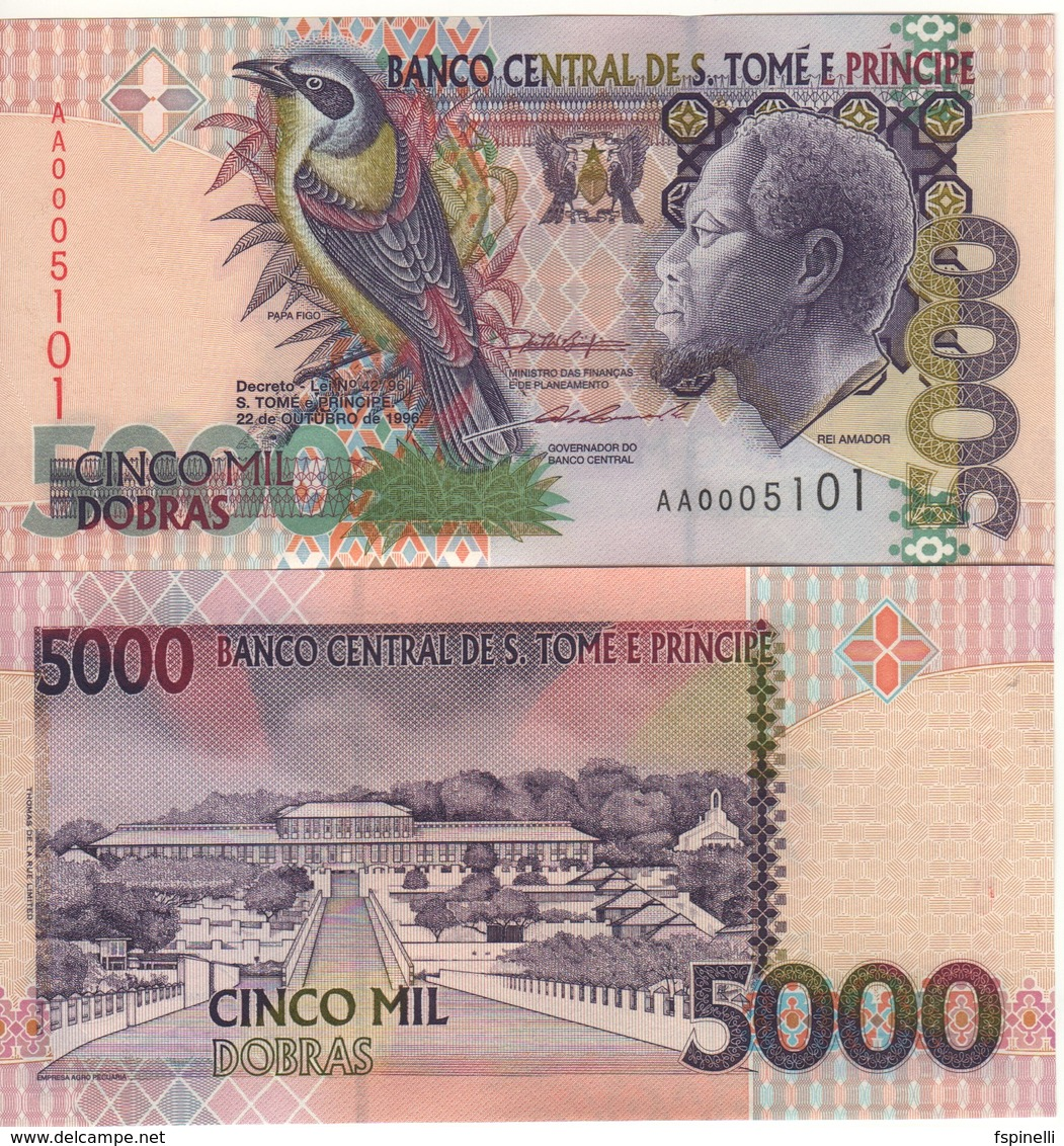 SAINT THOMAS & PRINCE  5'000 Dobras.  P65a  Dated 22.10.1996  (One Security Thread) UNC - Sao Tomé Et Principe