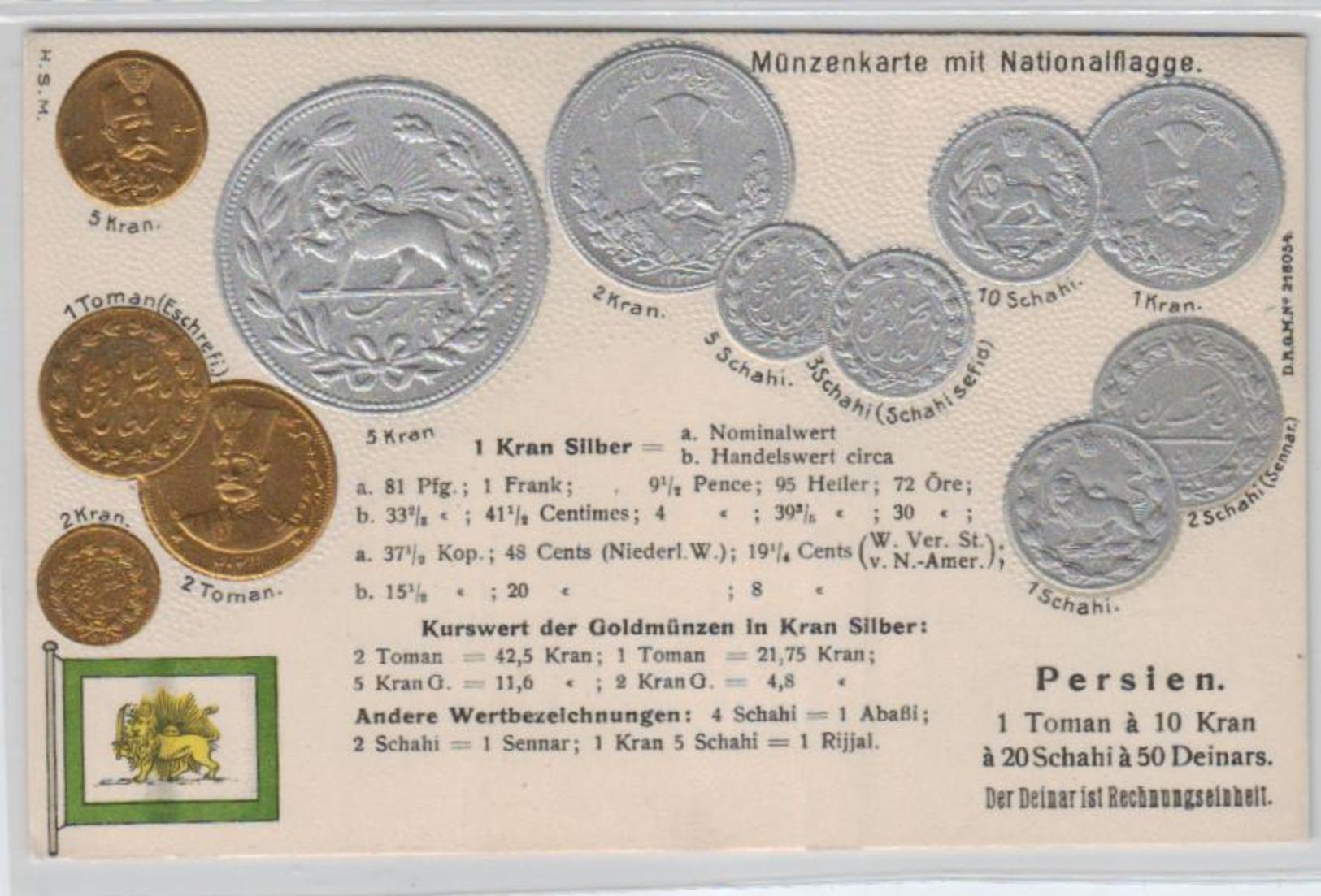 Motiv-MünzenPräge - Persien    - Schöne Alte Karte ....   (ka5297  ) Siehe Scan - Monnaies (représentations)