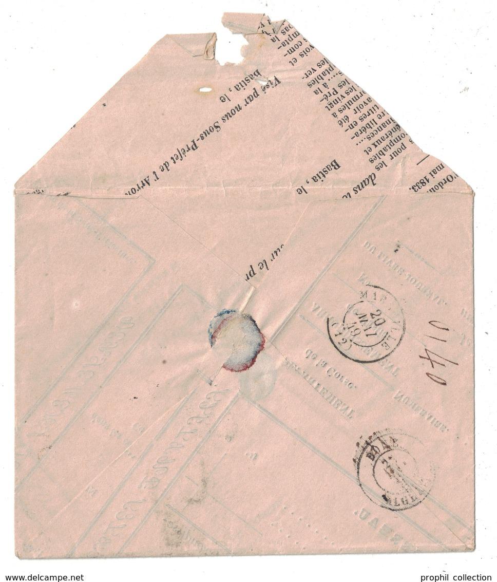 1849 - LETTRE (ENVELOPPE DE FORTUNE) LSC NON-AFFRANCHIE De BASTIA CORSE Pour BONE ALGERIE AFRIQUE TAXE TAMPON 2 - Marcofilie (Brieven)