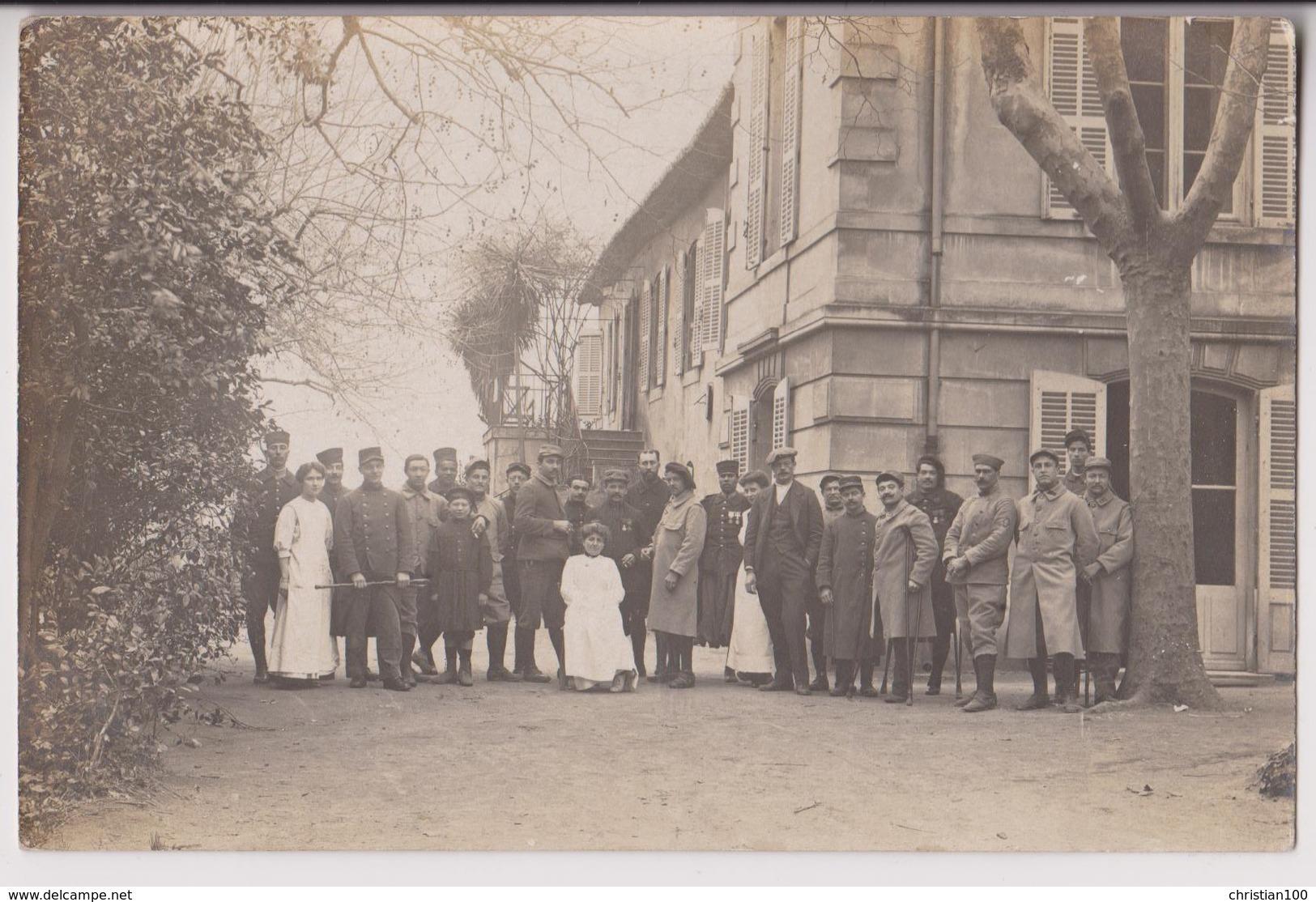 CARTE PHOTO : SOUVENIRS DE L'HOPITAL MILITAIRE N° 38 DE SAINT BARNABE - MARSEILLE - ECRITE EN 1916 - 2 SCANS - - Saint Barnabé, Saint Julien, Montolivet