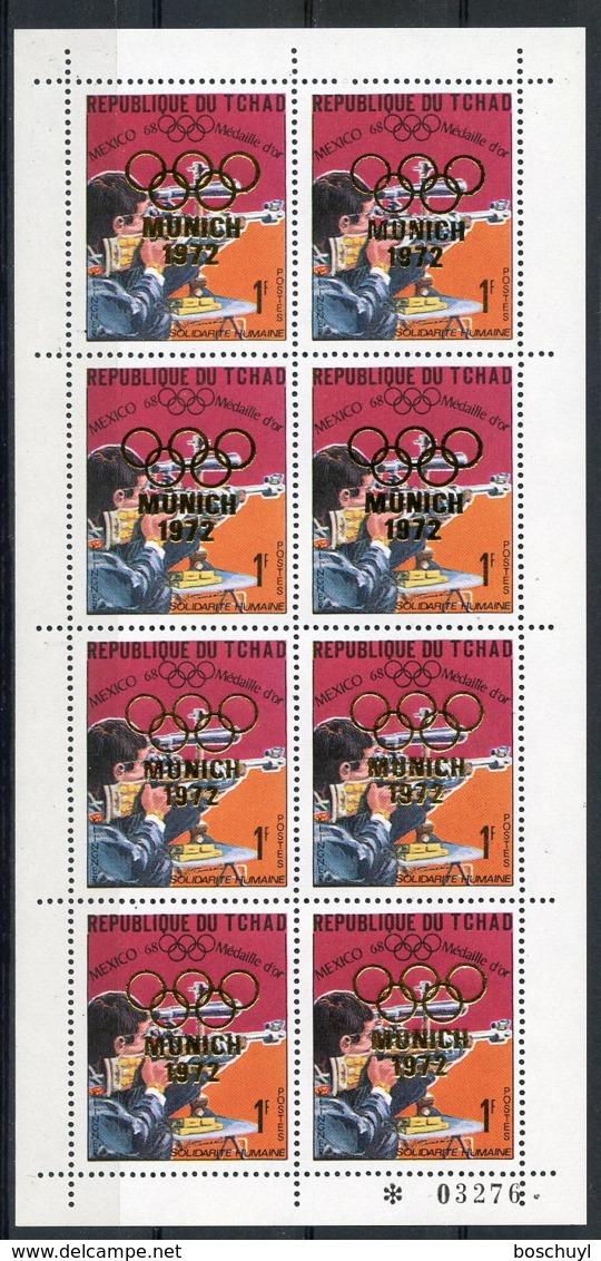 Chad, 1972, Olympic Summer Games Munich, Medal Winner, Shooting, Klingner, MNH Sheetlet, Gold Overprint, Michel 254A - Chad (1960-...)