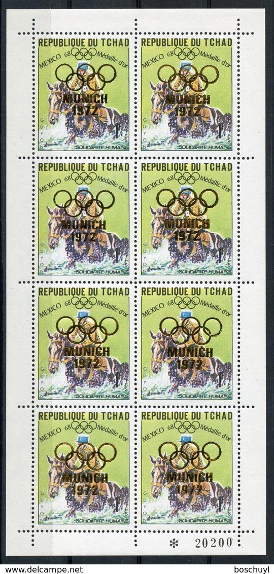 Chad, 1972, Olympic Summer Games Munich, Medal Winner, Equestrian, Guyon, MNH Sheetlet, Gold Overprint, Michel 247A - Ciad (1960-...)