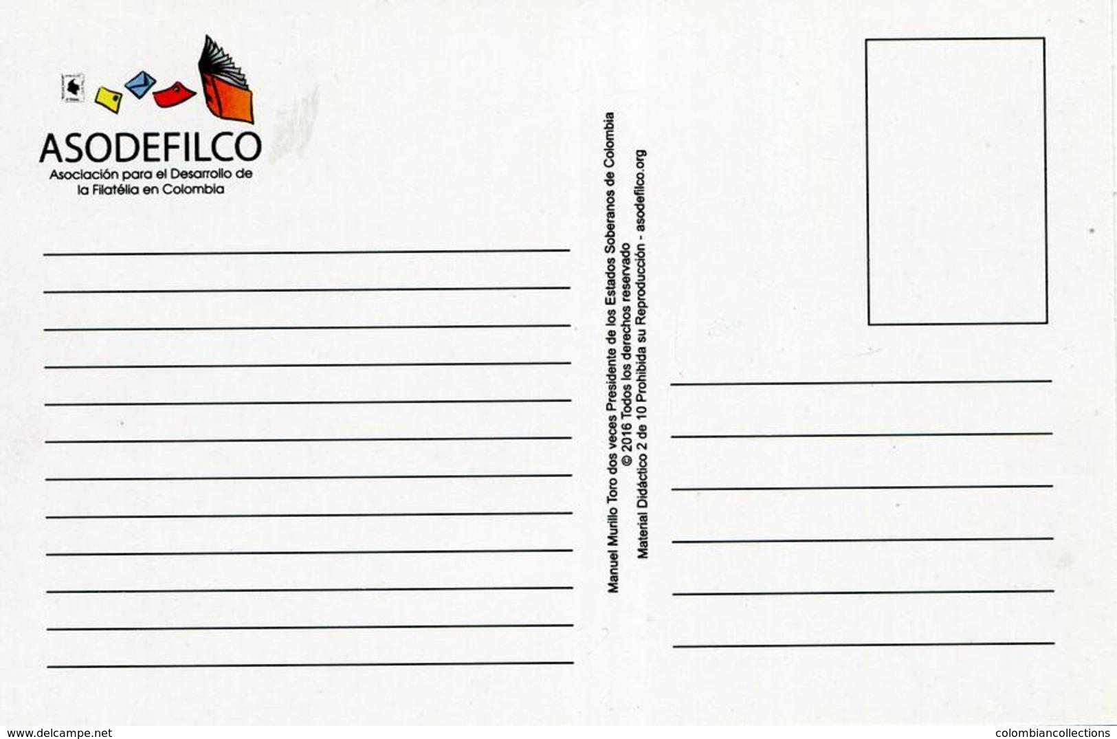 Lote PEP1043, Colombia, Postal, Postcard, Manuel Murillo Toro, Mason, Asodefilco, President Of Colombia - Colombia