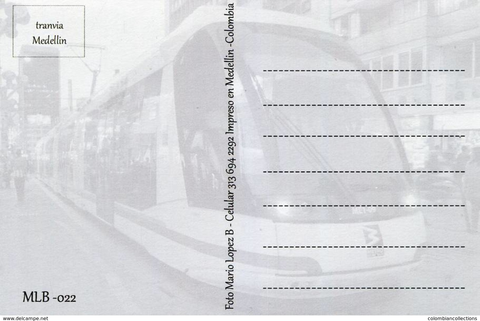Lote PEP1045, Colombia, Postal, Postcard, Medellin, Tranvia, MLB-022, Tram, Streetcar - Colombia