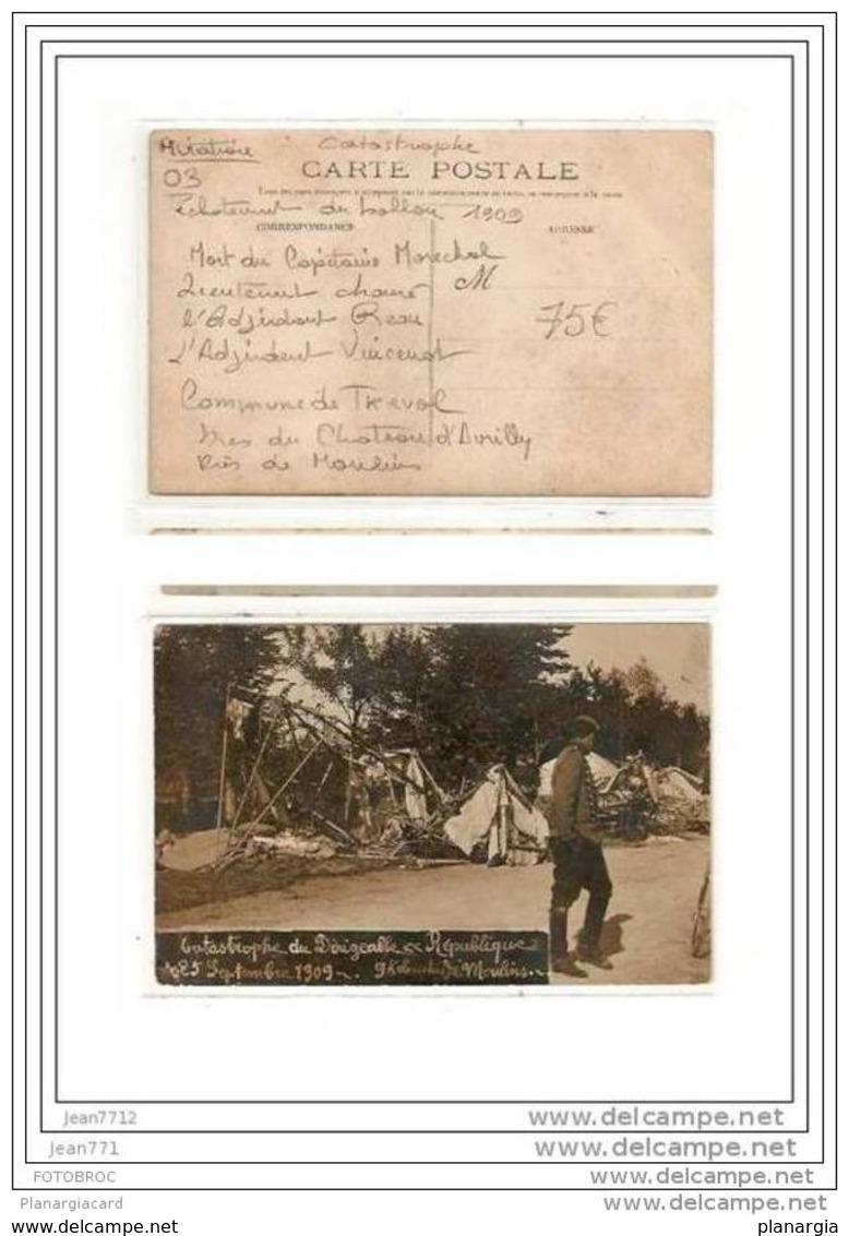 6854 AV412  AK /PC/ CARTE PHOTO/1929/03/MOULINS/CATASTRO PHE DU DIRIGEABLE REPUBLIQUE/1909/TTB - Dirigibili