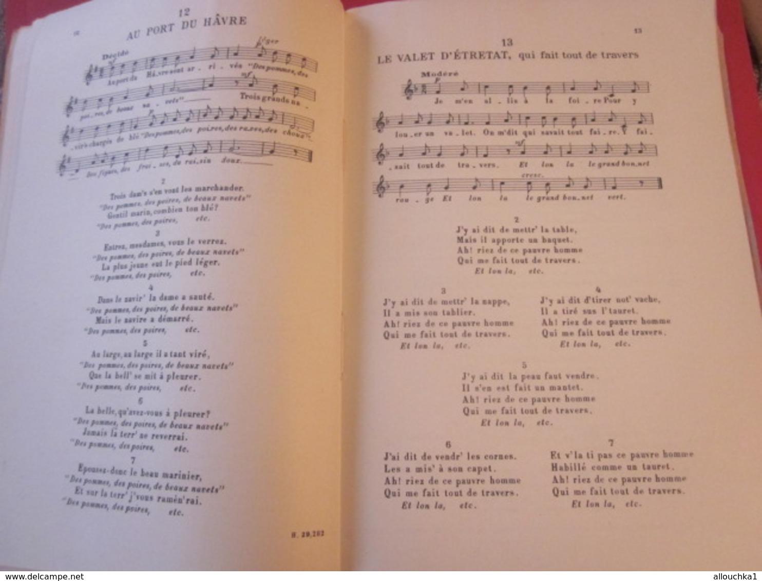 1946 ANTHOLOGIE CHANT SCOLAIRE CHANSONS POPULAIRES FRANÇAISES  ÎLE DE FRANCE-NORMANDIE  Musique-Textes Partitions - Song Books