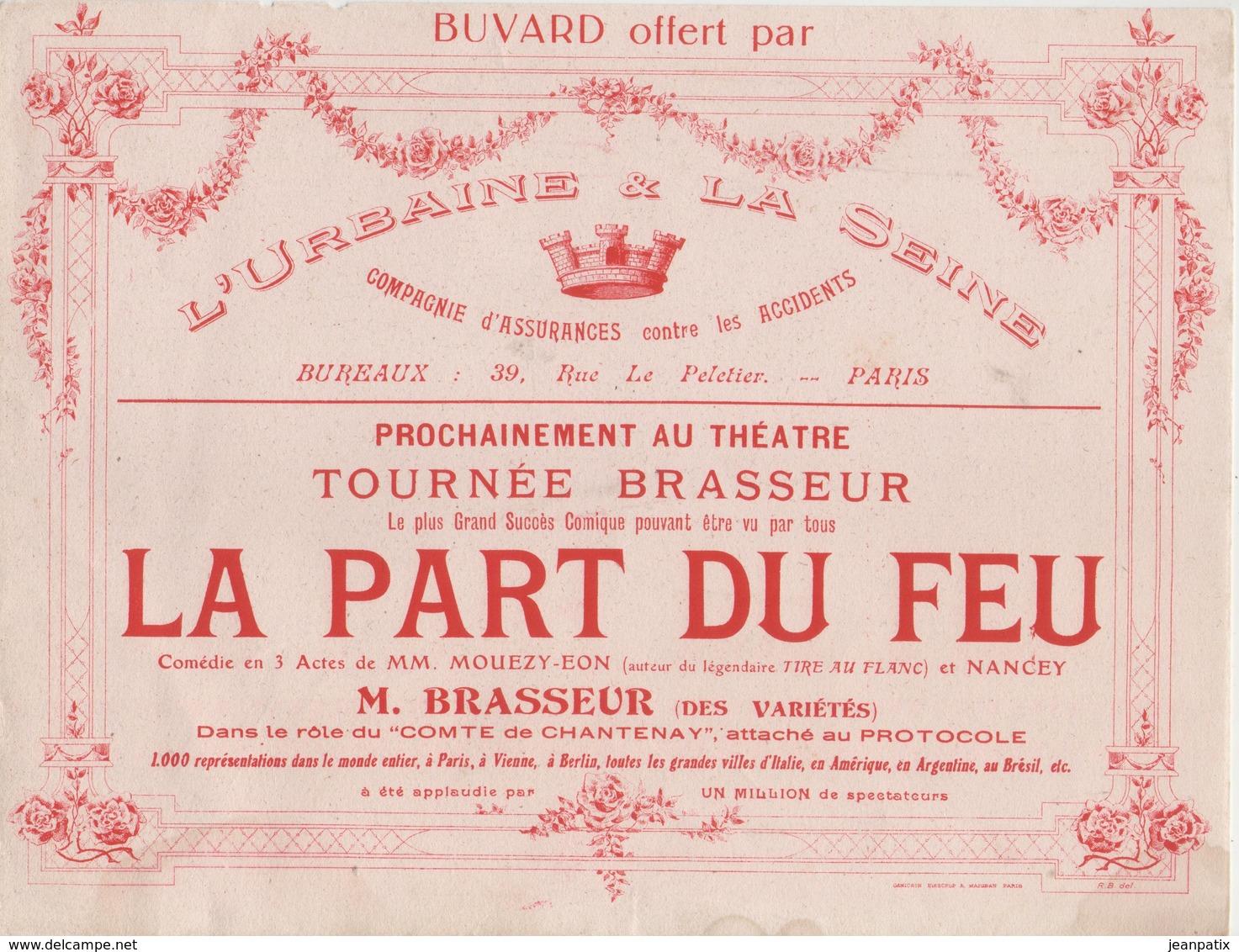 BUVARD Grand Format - L'Urbaine - Tournée BRASSEUR - Théatre - LA PART DU FEU - - Buvards, Protège-cahiers Illustrés