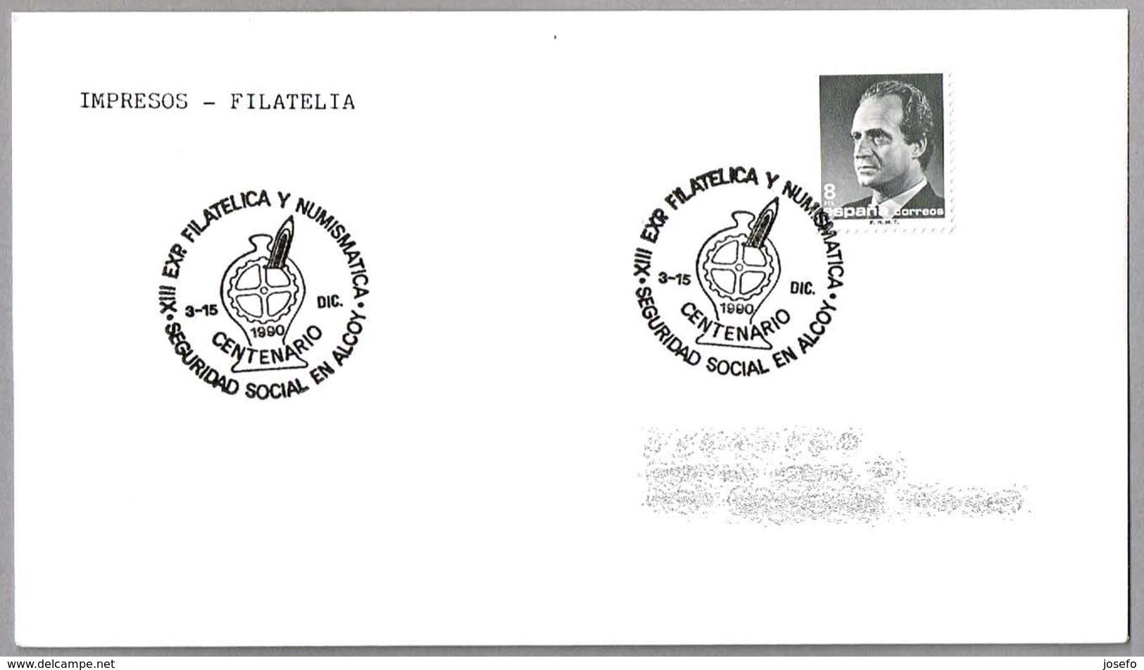 Matasellos 100 AÑOS SEGURIDAD SOCIAL EN ALCOY. Alcoy 1990 - 1931-Hoy: 2ª República - ... Juan Carlos I