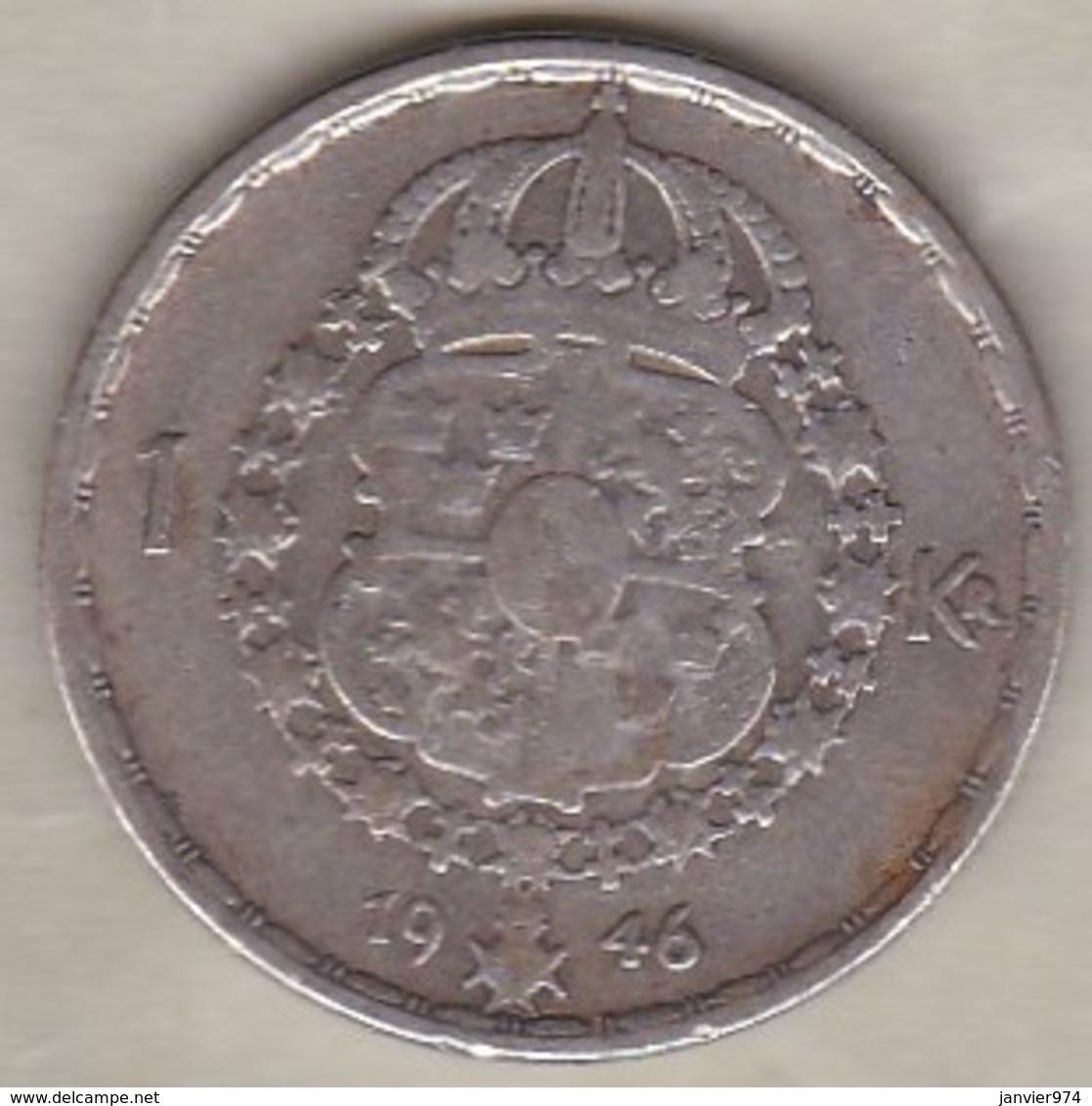 Sweden 1 Krona 1946 TS Gustaf V , En Argent . KM# 814 - Suède