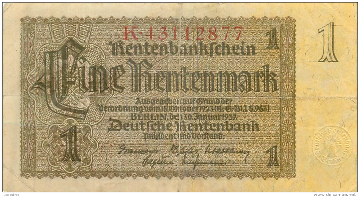 BILLET  1 RENTENMARK - [ 4] 1933-1945 : Terzo  Reich