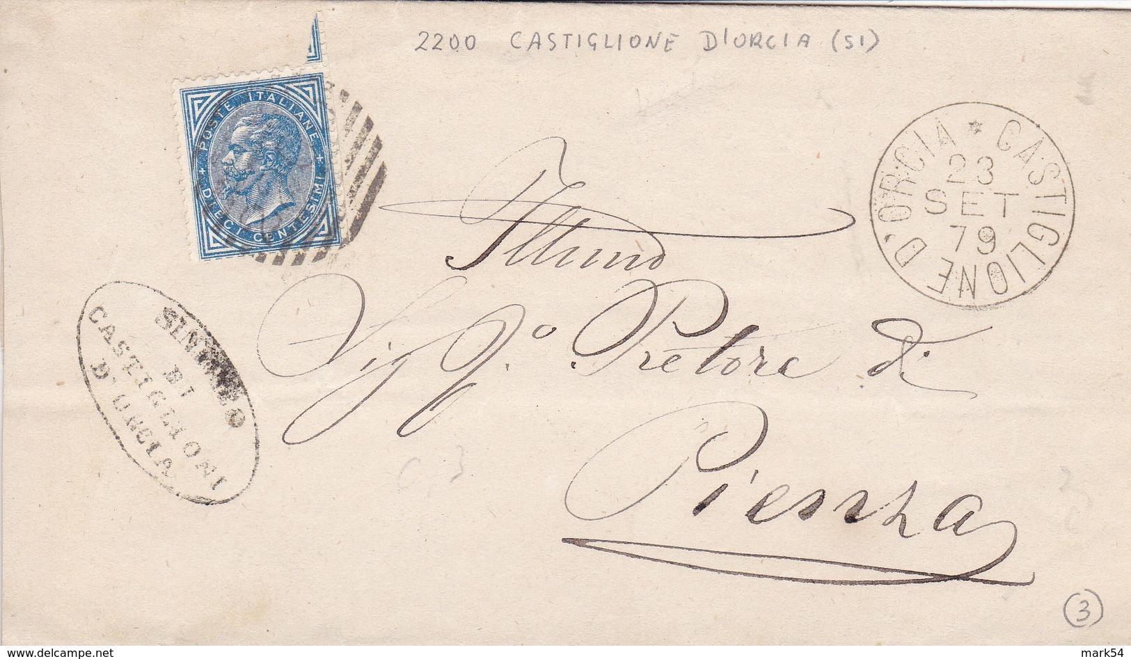 Un Annullo Per Paese Castiglione D'Orcia (Siena) Numerale Grande Cerchio + Sbarre - 1878-00 Umberto I