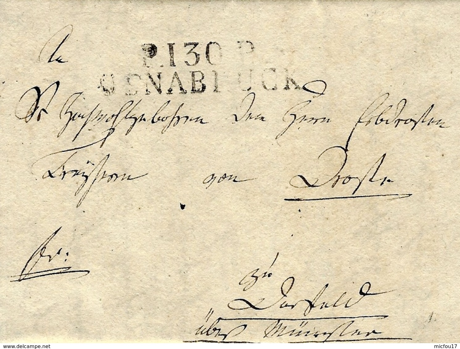 1812 - TERR. CONQUIS - Lettre De P.130.P / OSNABRUCK ( La Lippe ) 47 Mm Noir - ...-1849 Vorphilatelie