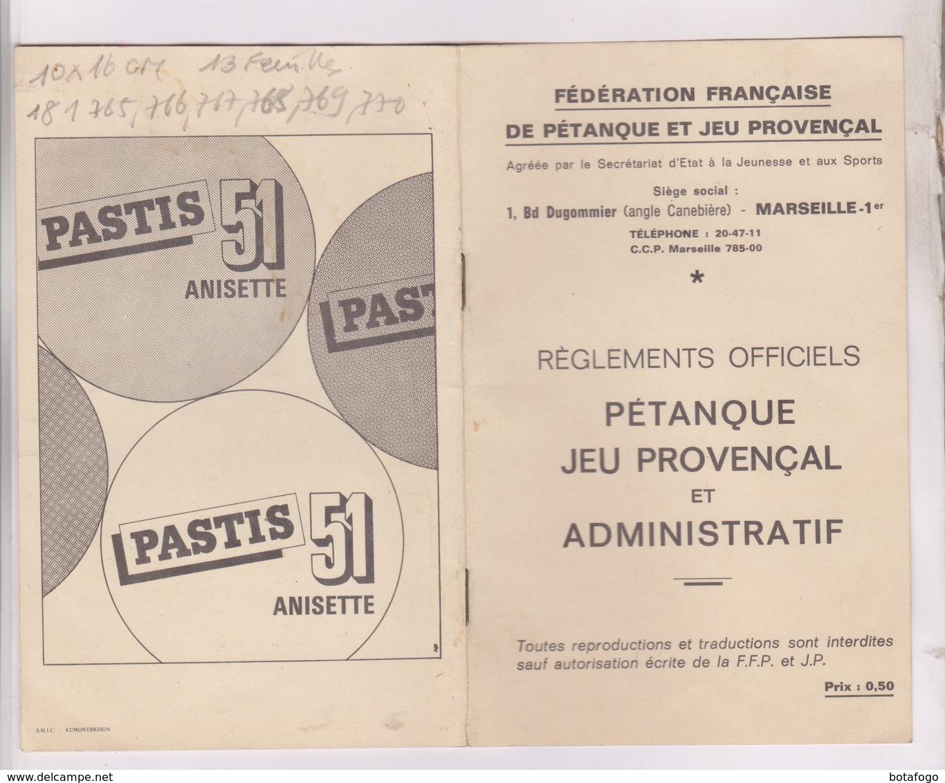 REGLEMENT PETANQUE , JEU PROVENCAL ET ADMINISTRATIF, REGLEMENTS OFFICIELS - Pétanque