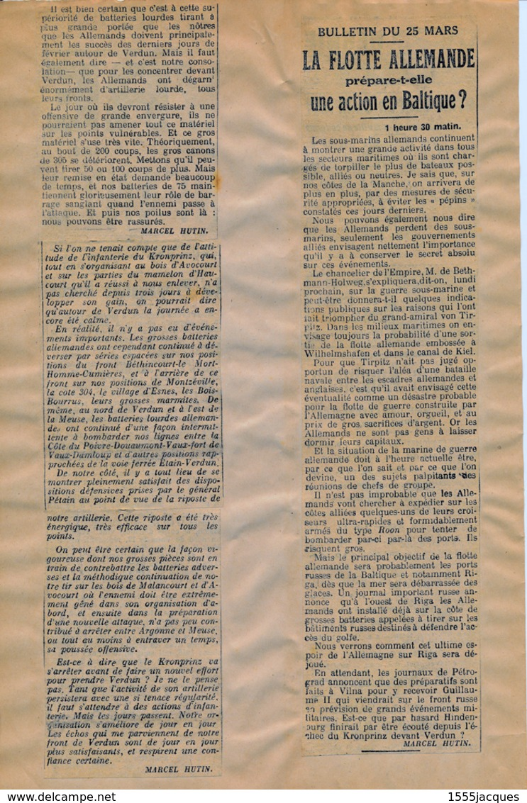 ANNÉE 1916 COMPLÈTE : ARTICLES DE GUERRE COLLÉS SIGNÉS MARCEL HUTIN EN 2 GROS CLASSEURS - + 350 PAGES - SOUS POCHETTES - Giornali