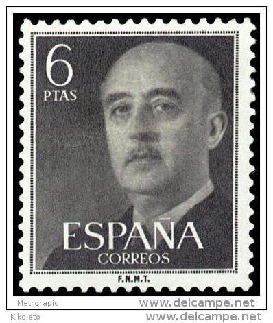 ESPAÑA AÑO 1955 EDIFIL 1161 ** MNH - GENERAL FRANCO - 6 Ptas -  Sello Nuevo Sin Señal De Fijasellos - 1951-60 Nuevos & Fijasellos