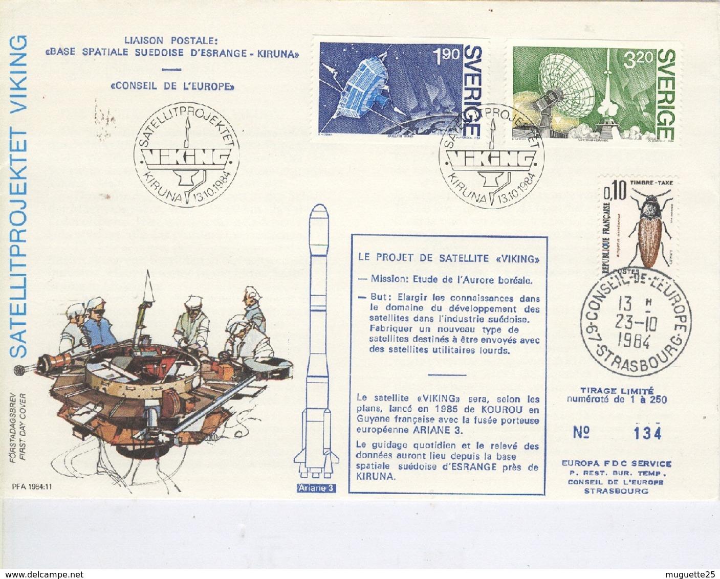 Projet De Satellite VIKING  Liaison Postale Base Spatiale Suédoise D'Esrange-Kiruna  Conseil De L'Europe -13 Octobre 198 - 1966