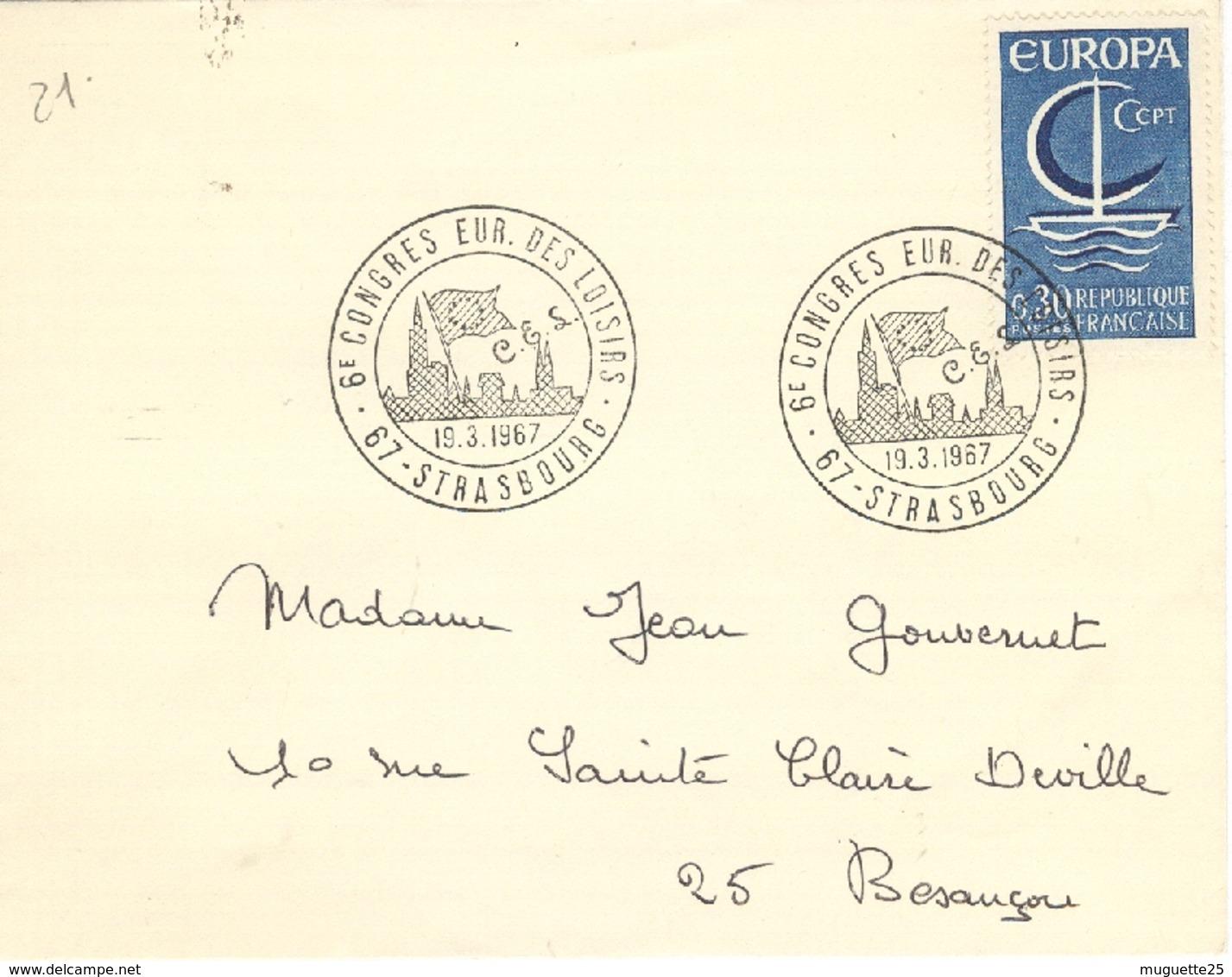 Enveloppe  6° Congrès Européen Des Loisirs  Strasbourg  19  Mars 1967 - Europa-CEPT