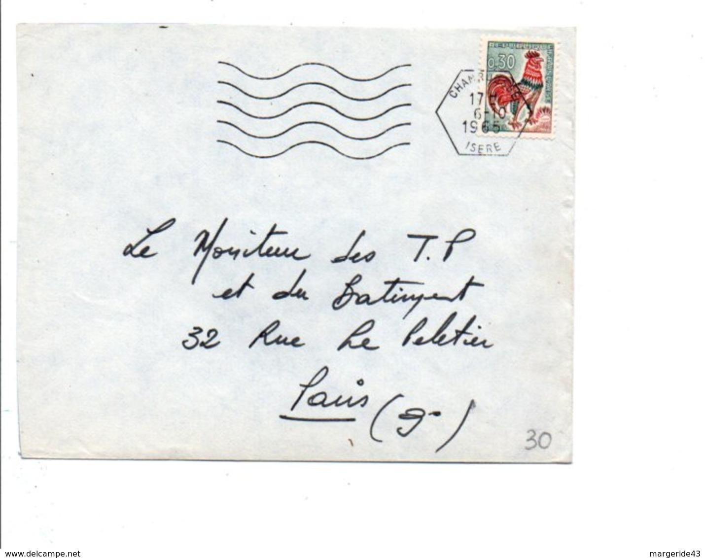 OBLITERATION MECANIQUE CHAMROUSSE ISERE 1965 - Marcophilie (Lettres)