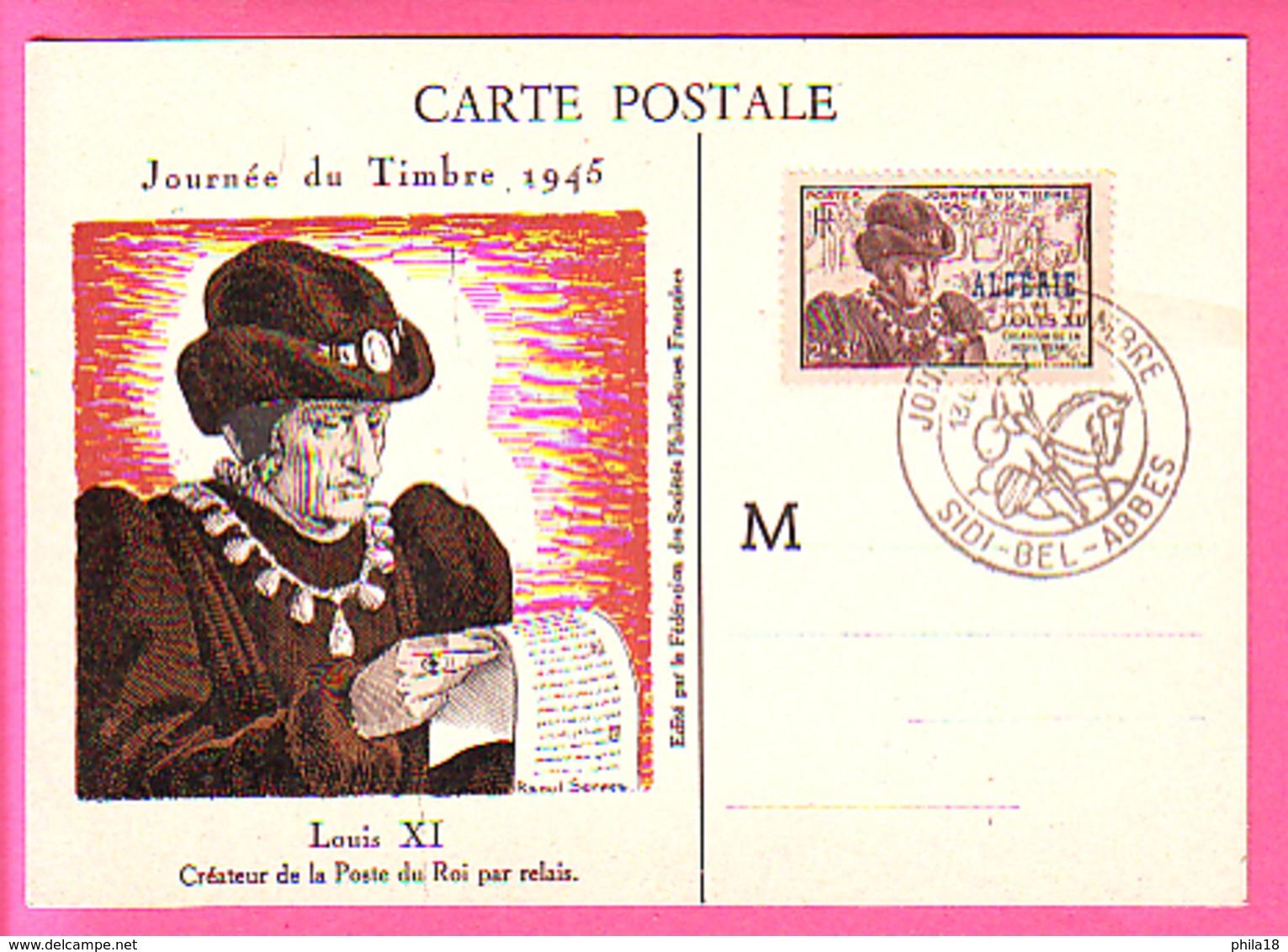 CARTE JOURNEE DU TIMBRE  SIDI-BEL-ABBES  LOUIS XI CREATEUR DE LA POSTE DU ROI PAR RELAIS - Algérie (1924-1962)