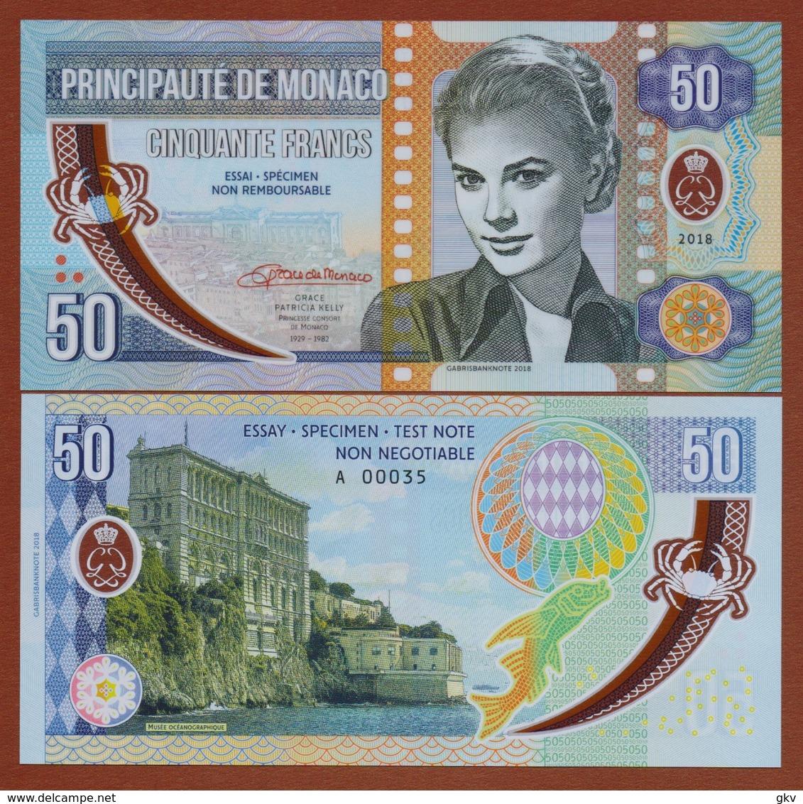 MONACO 50 Francs 2018 Polymer UNC. Grace Kelly. Private Essay. Specimen. - Billets