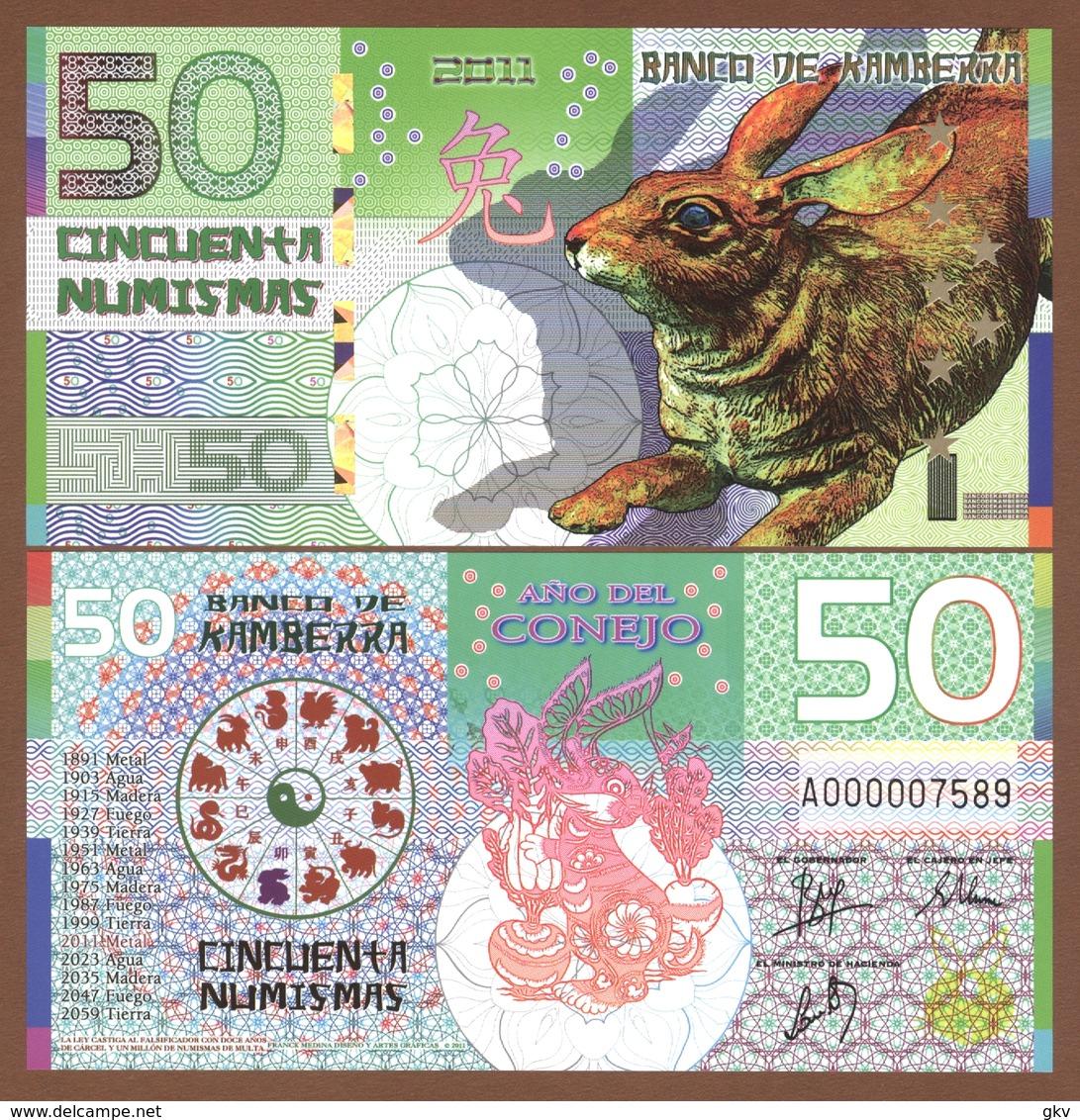 KAMBERRA 50 Numismas 2011 Polymer UNC. Year Of The Rabbit - Billets