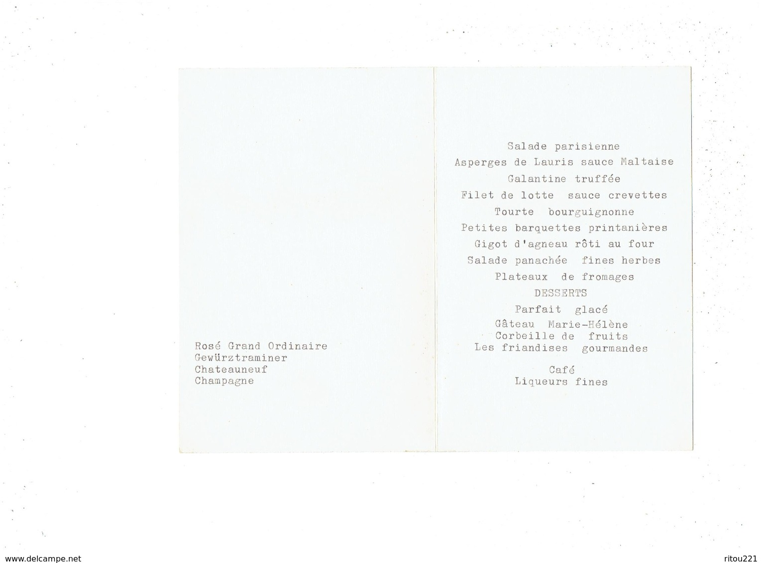 Menu De BAPTEME - 1960 - Illustration Desmarais Barré Dayez N°13037  - Couffin Bébé Lapin - Galantine Truffée Asperges - Menus