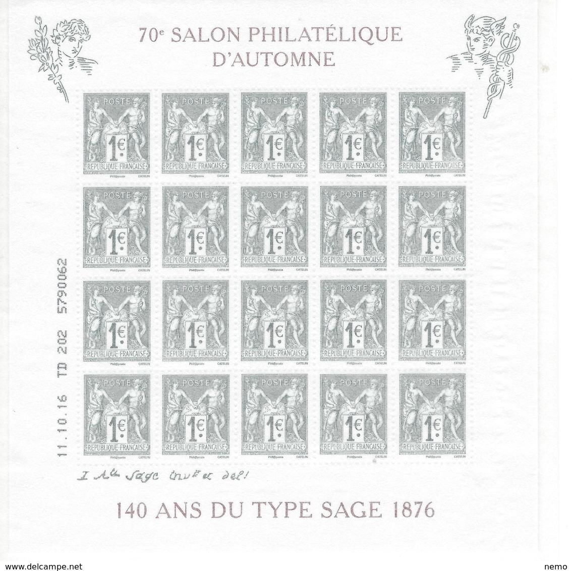 BLOC FEUILLET SALON D'AUTOMNE 2016. Type Sage - Blocs & Feuillets