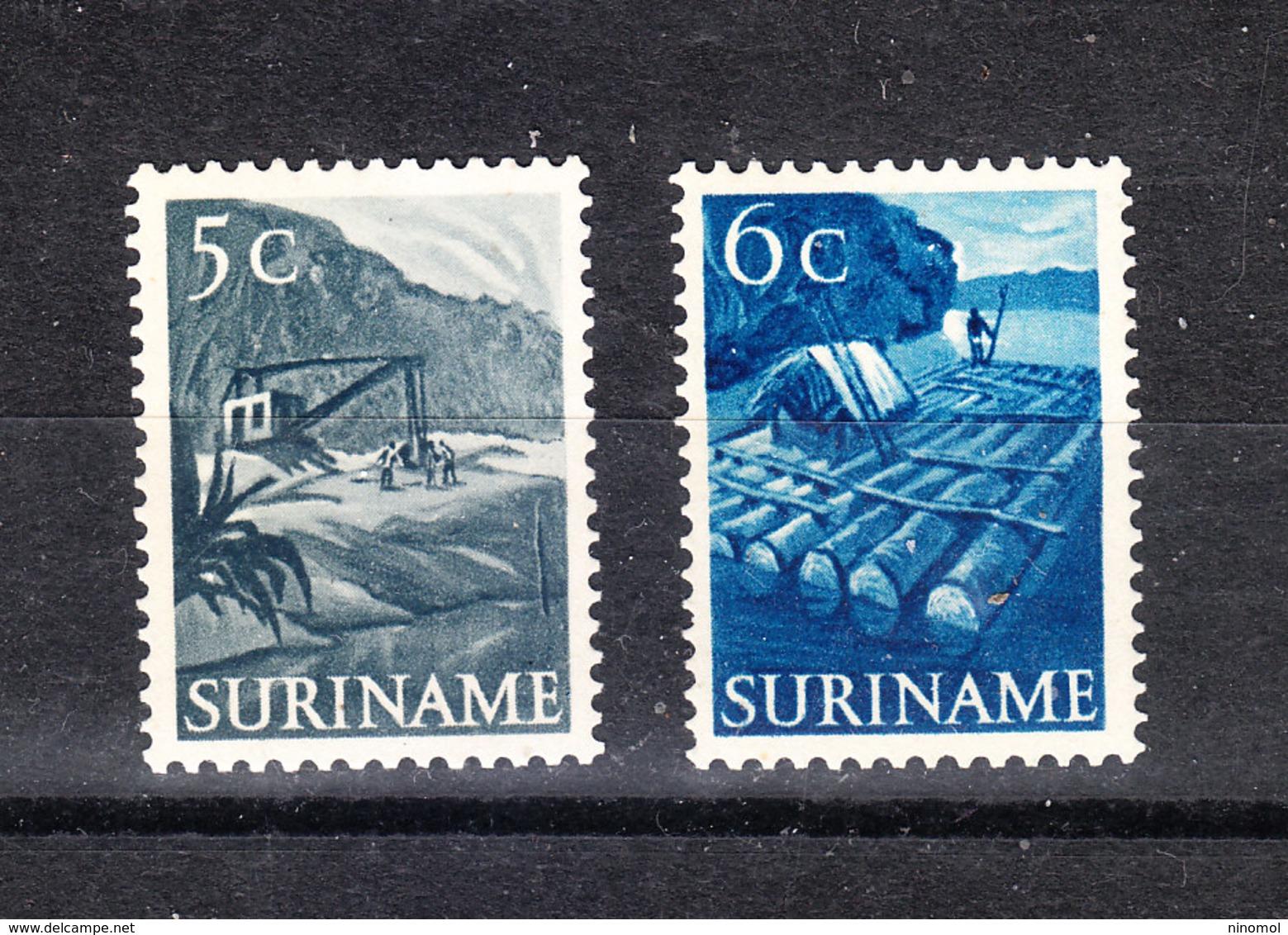 """Surinam  - 1954. Escavatore, Trasporto Legname. Excavator, Timber Transport. 2 Francobolli """" Lavoro"""" Del Set. MNH, Fresh - Fabbriche E Imprese"""