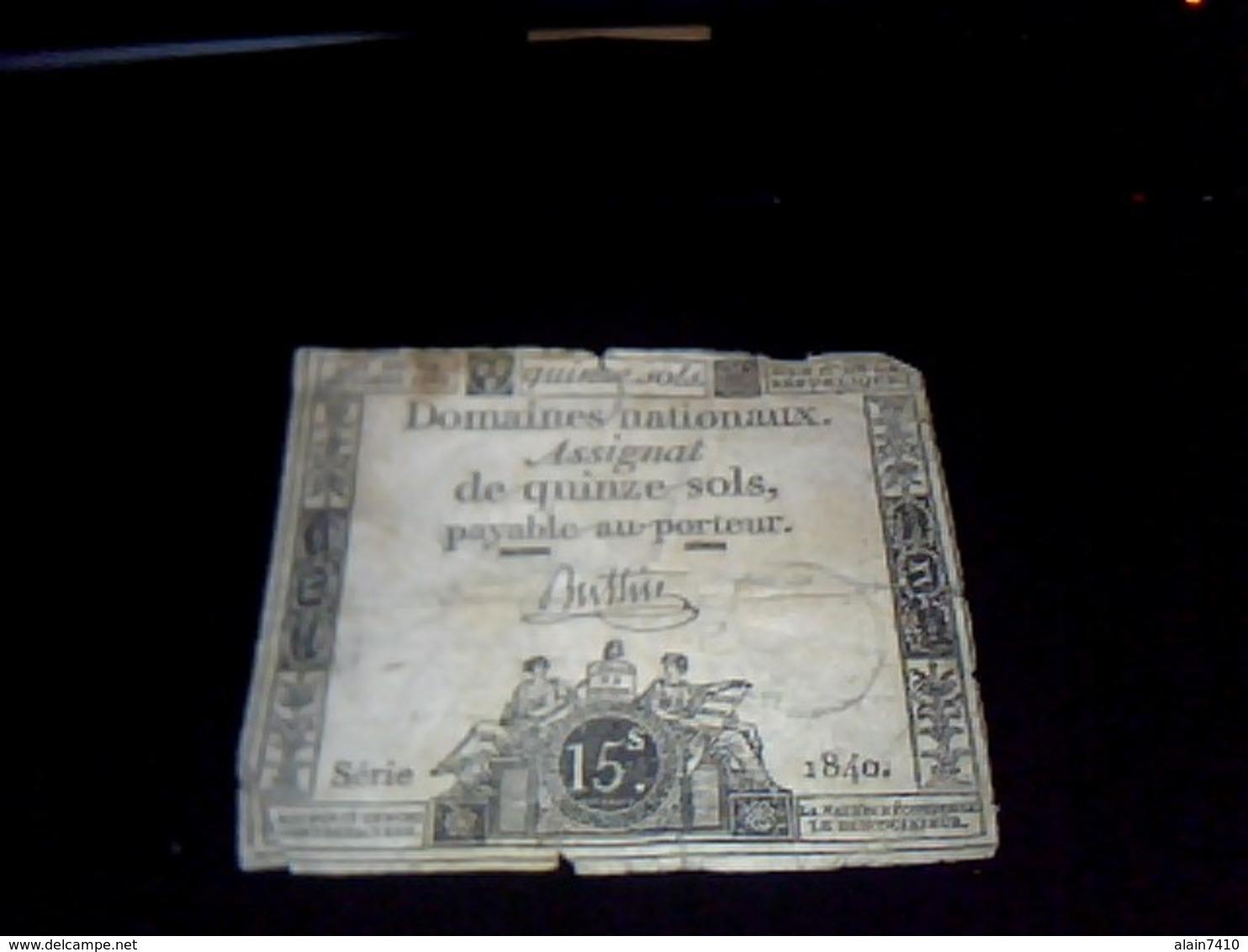 Assignat   Domaines Nationaux 15  Sols Serie 1840  An  1 - Azioni & Titoli