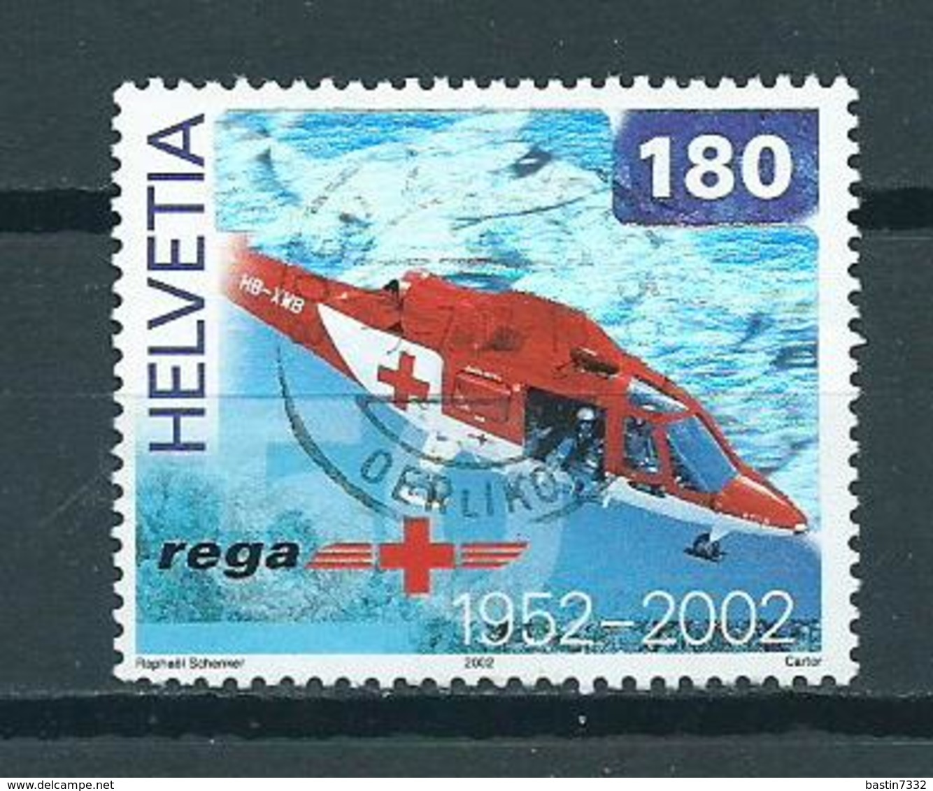 2002 Switzerland 180 Helicopter,REGA Used/gebruikt/oblitere - Zwitserland