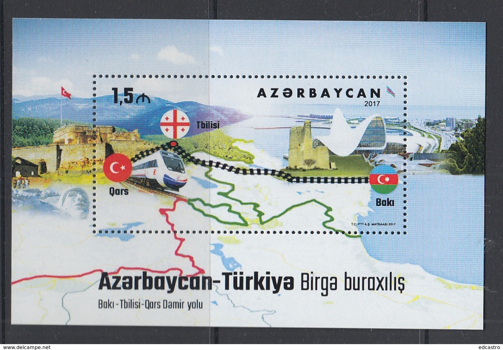 12.- AZERBAIJAN 2017 JOINT ISSUE WITH TURKEY - TRAINS RAILWAYS - Emissions Communes