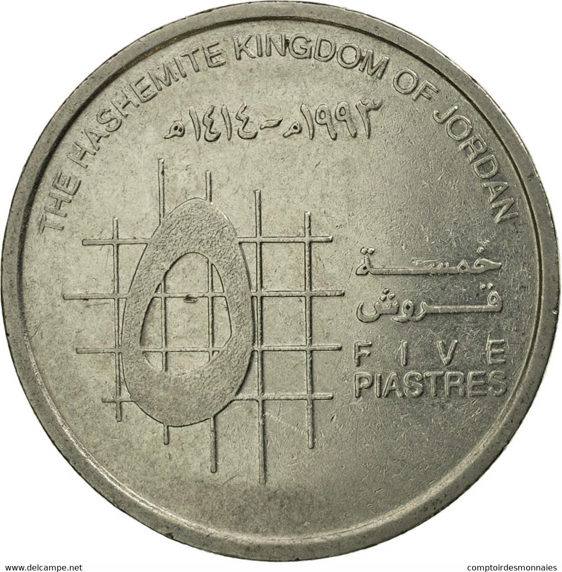 Monnaie, Jordan, Hussein, 5 Piastres, 1993/AH1414, TTB, Nickel Plated Steel - Jordanie