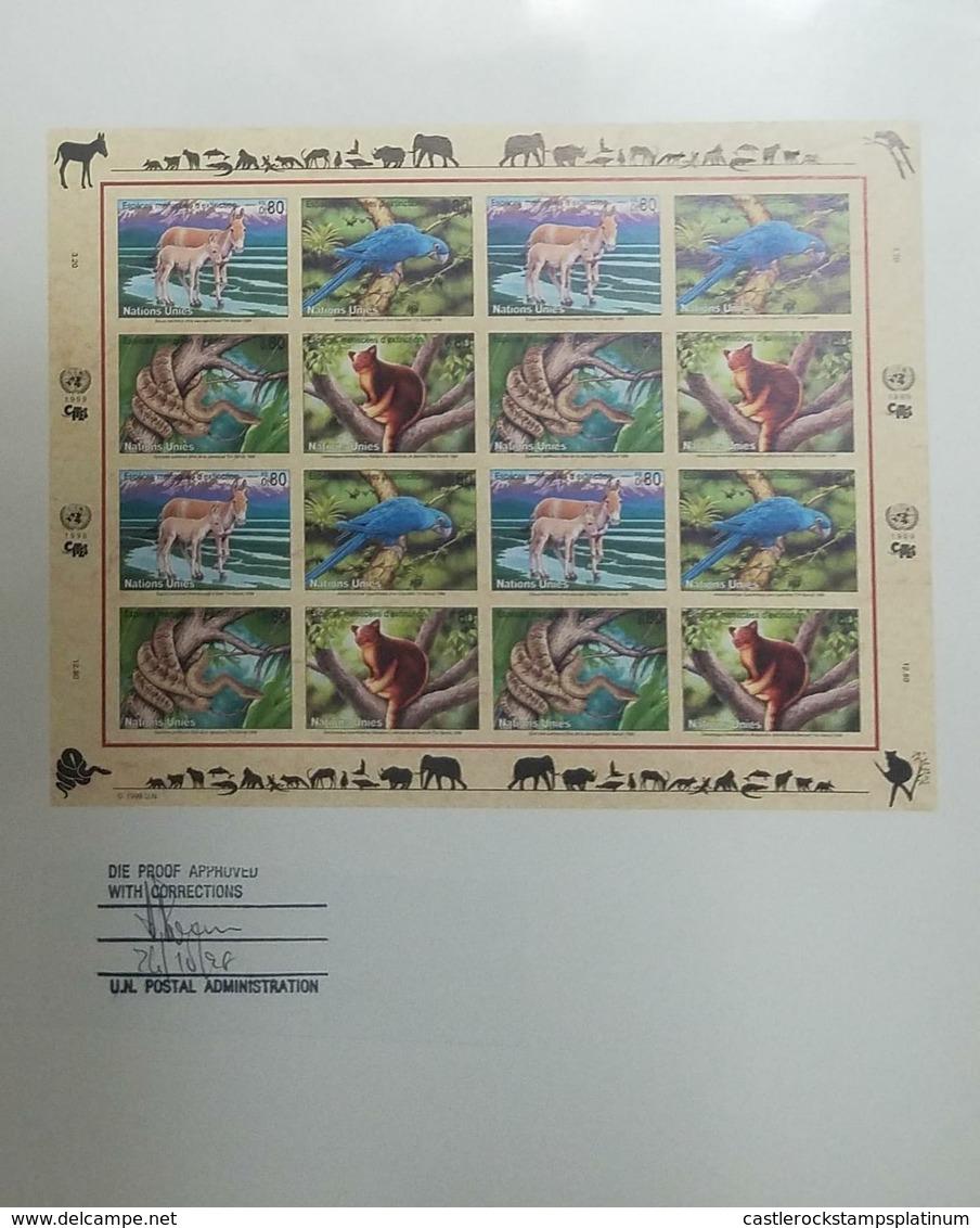 O) 1999 UNITED NATIONS -GENEVA, ARTWORKS , ENDANGERED SPECIES -EQUUS  HEMIONUS- ANODORHYNCHUS-EPICRATES BOA -DENDOLAPUS - Geneva - United Nations Office