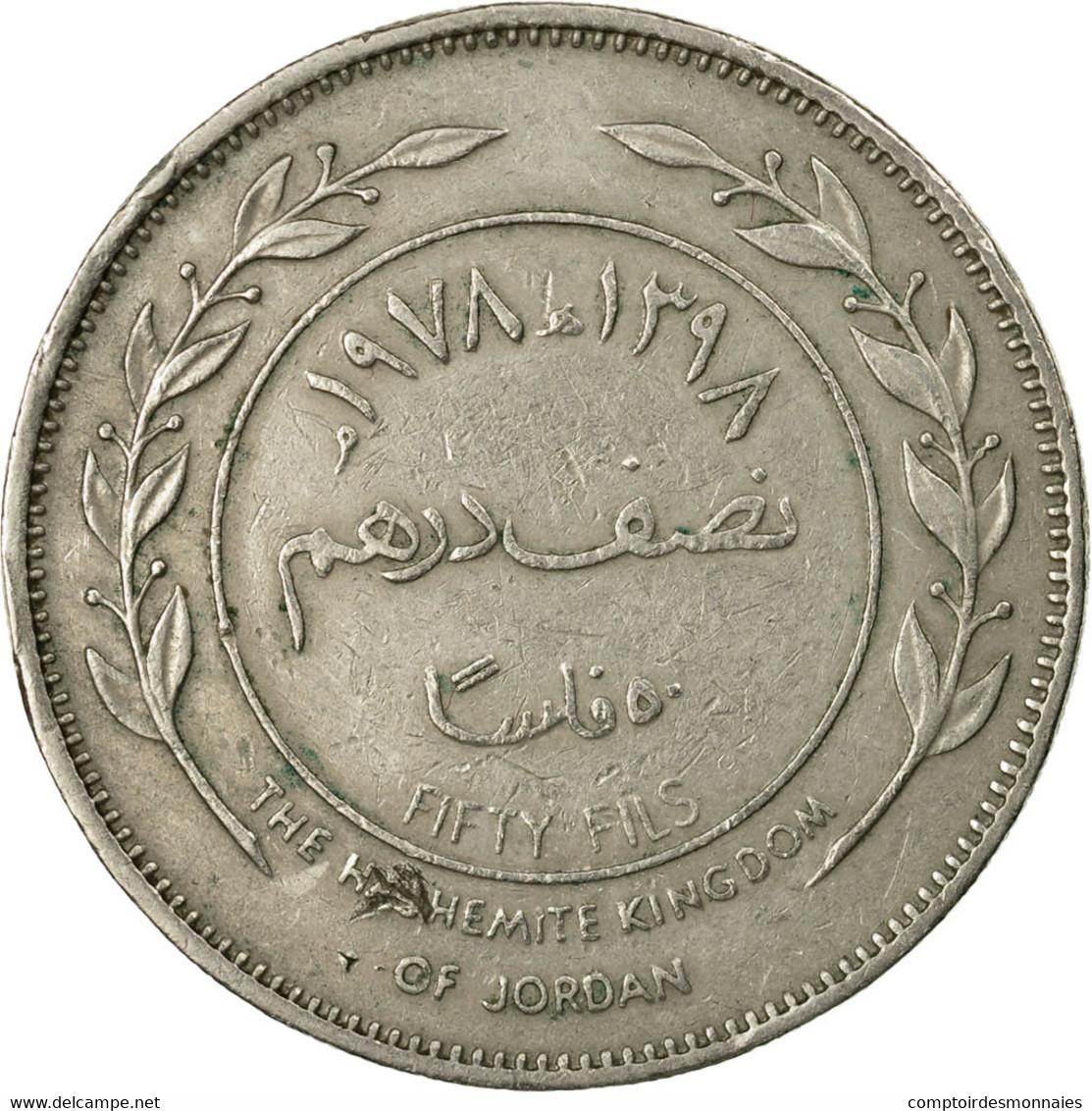 Monnaie, Jordan, Hussein, 50 Fils, 1/2 Dirham, 1977/AH1397, TTB, Copper-nickel - Jordanie