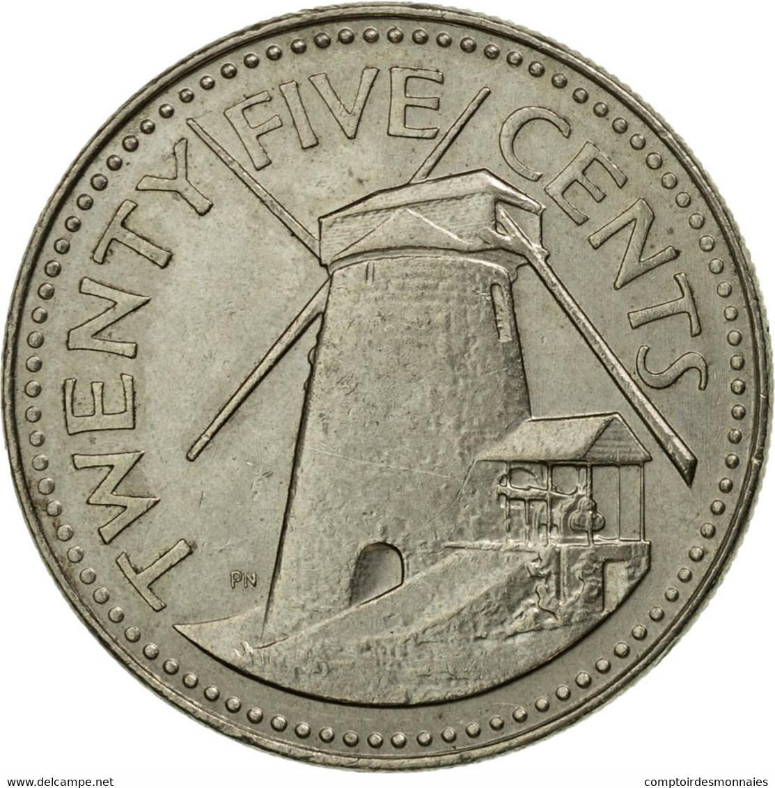 Monnaie, Barbados, 25 Cents, 1981, Franklin Mint, TTB, Copper-nickel, KM:13 - Barbades