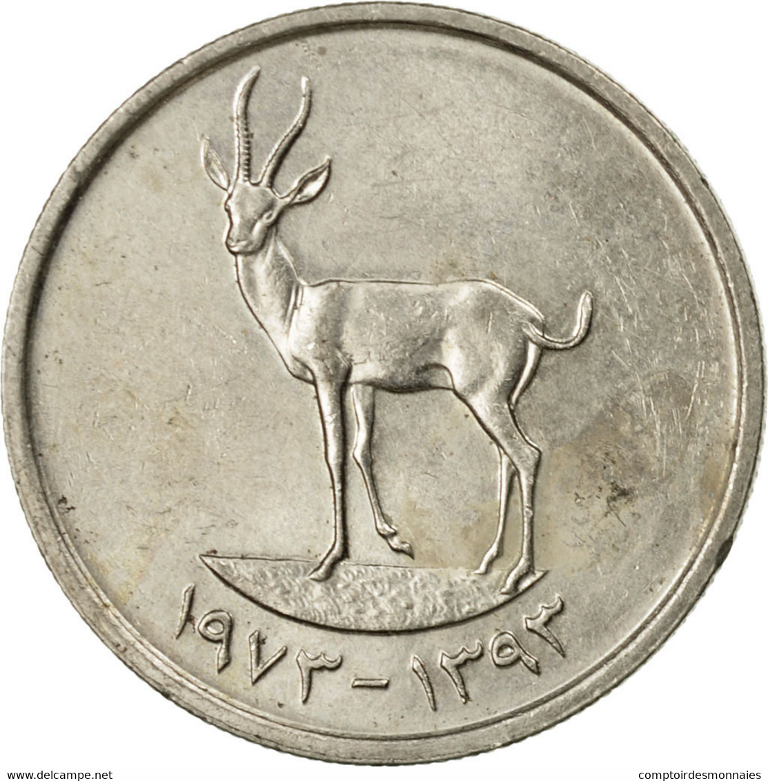 Monnaie, United Arab Emirates, 25 Fils, 1973/AH1393, British Royal Mint, TTB - Emirats Arabes Unis