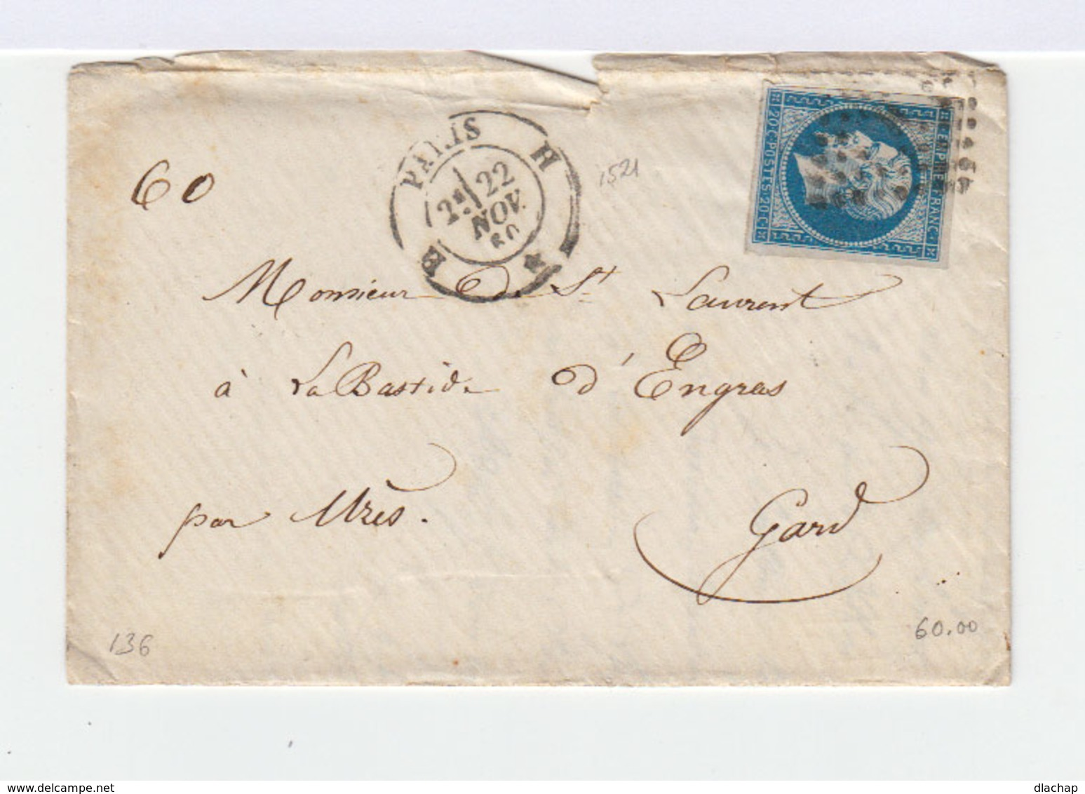 Sur Enveloppe Second Empire Napoléon III Type I 20 C. Bleu. Oblitération Losange. CAD Paris 1860. (746) - Marcophilie (Lettres)
