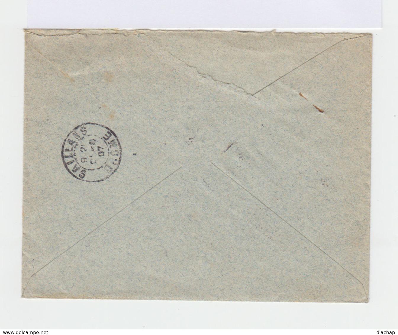 Sur Enveloppe 3 Timbres Type Semeuse 10 C. Rouge Et Un Type Blanc 5 C. Vert. CAD Hexagonal Paris 1907. (749) - Marcophilie (Lettres)