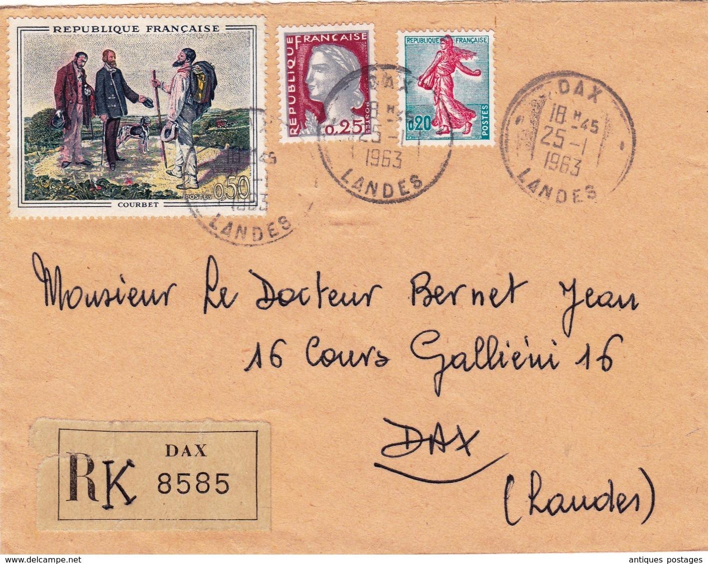 Lettre Recommandée 1963 Dax Landes - Frankrijk