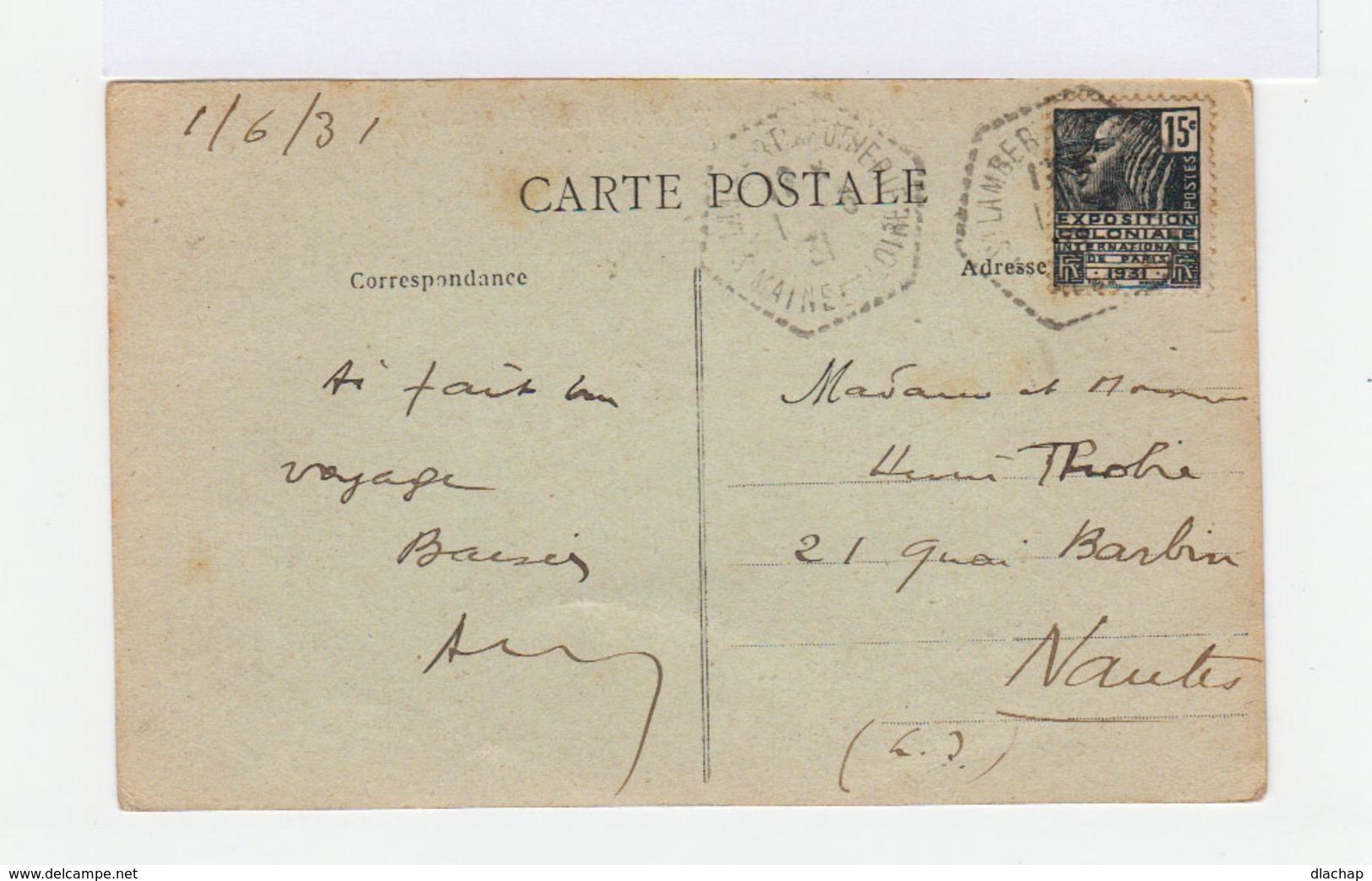 Sur Carte Postale Timbre Exposition Coloniale 15 C. Gris 1931. CAD Saint Lambert La Potherie. (750) - Marcophilie (Lettres)