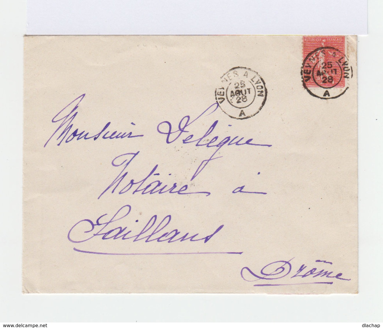 Sur Enveloppe Type Semeuse 50 C. Rouge. CAD Veynes à Lyon 1928. (751) - Marcophilie (Lettres)