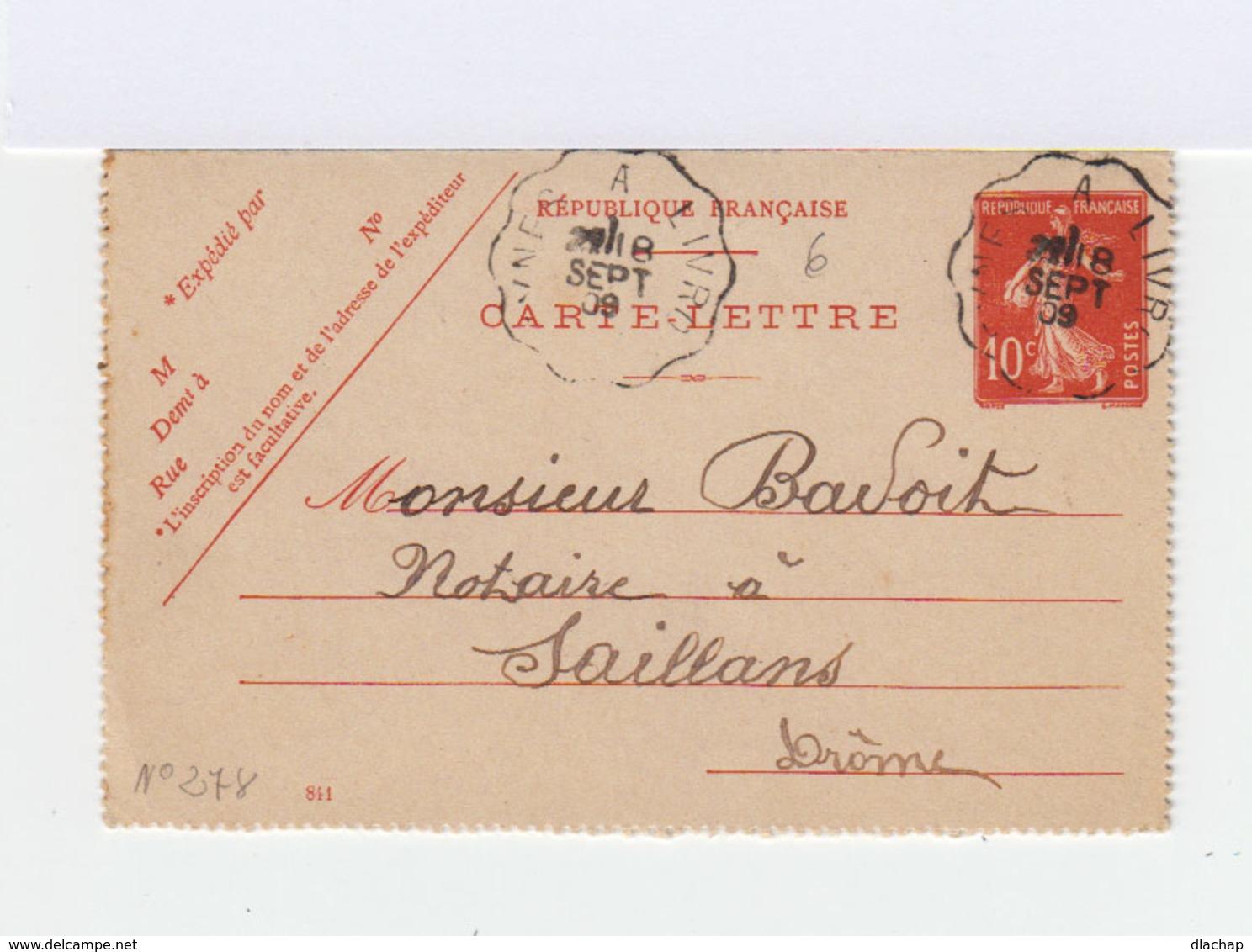 Carte Lettre Type Semeuse 10 C. Rouge D' Aurel CAD Ambulant 1909, Vers Saillans. CAD. (755) - Entiers Postaux